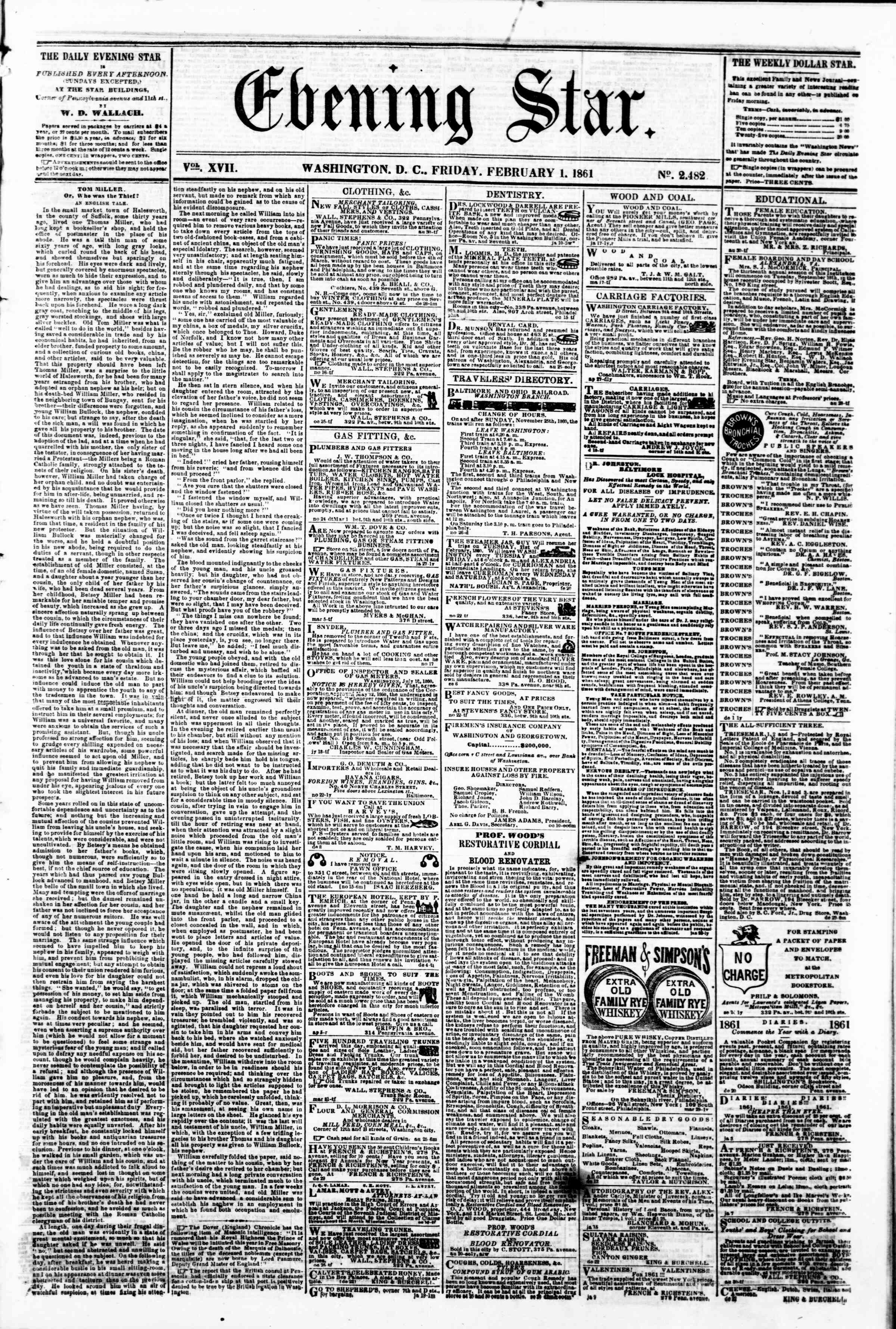 Newspaper of Evening Star dated February 1, 1861 Page 1