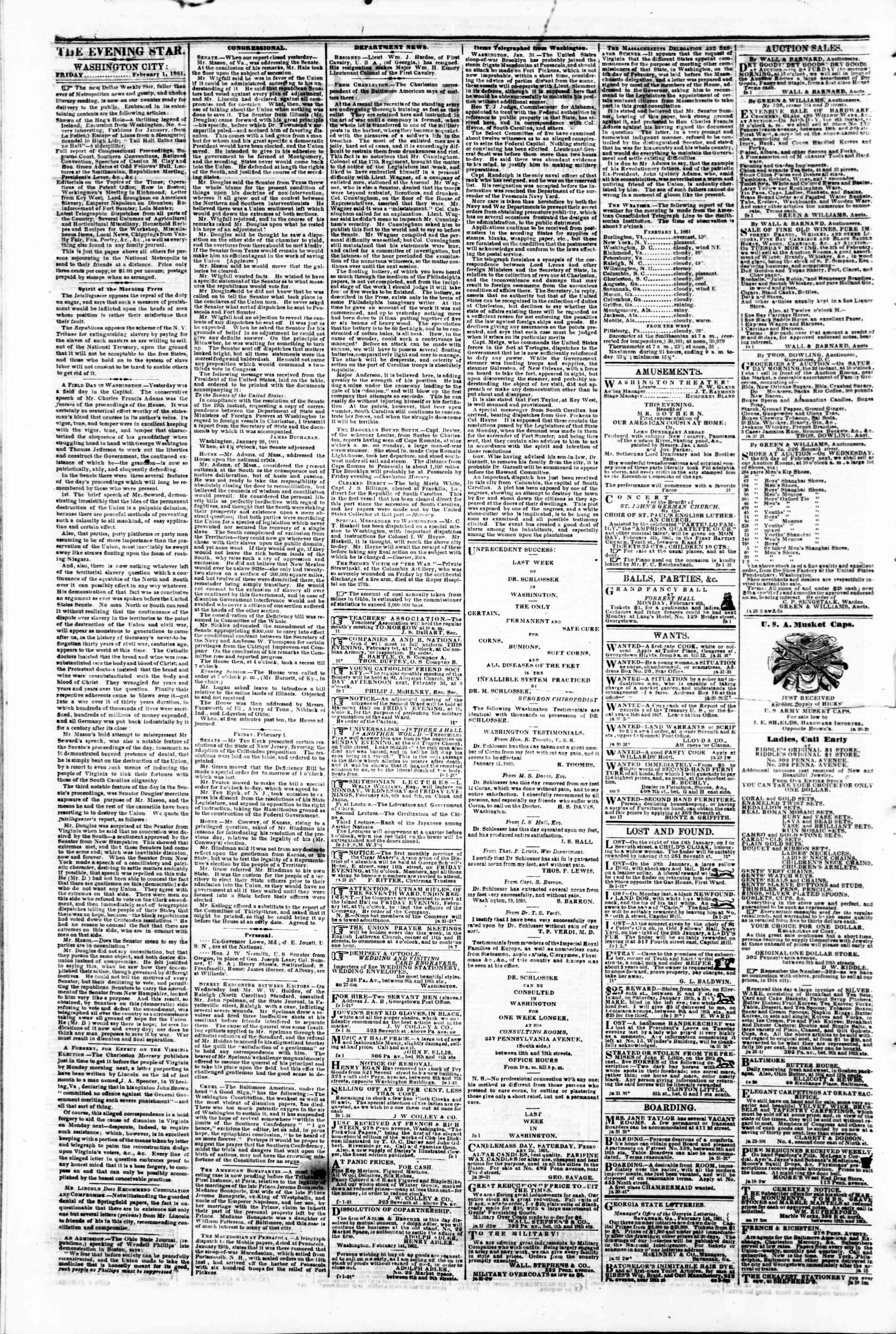 Newspaper of Evening Star dated February 1, 1861 Page 2