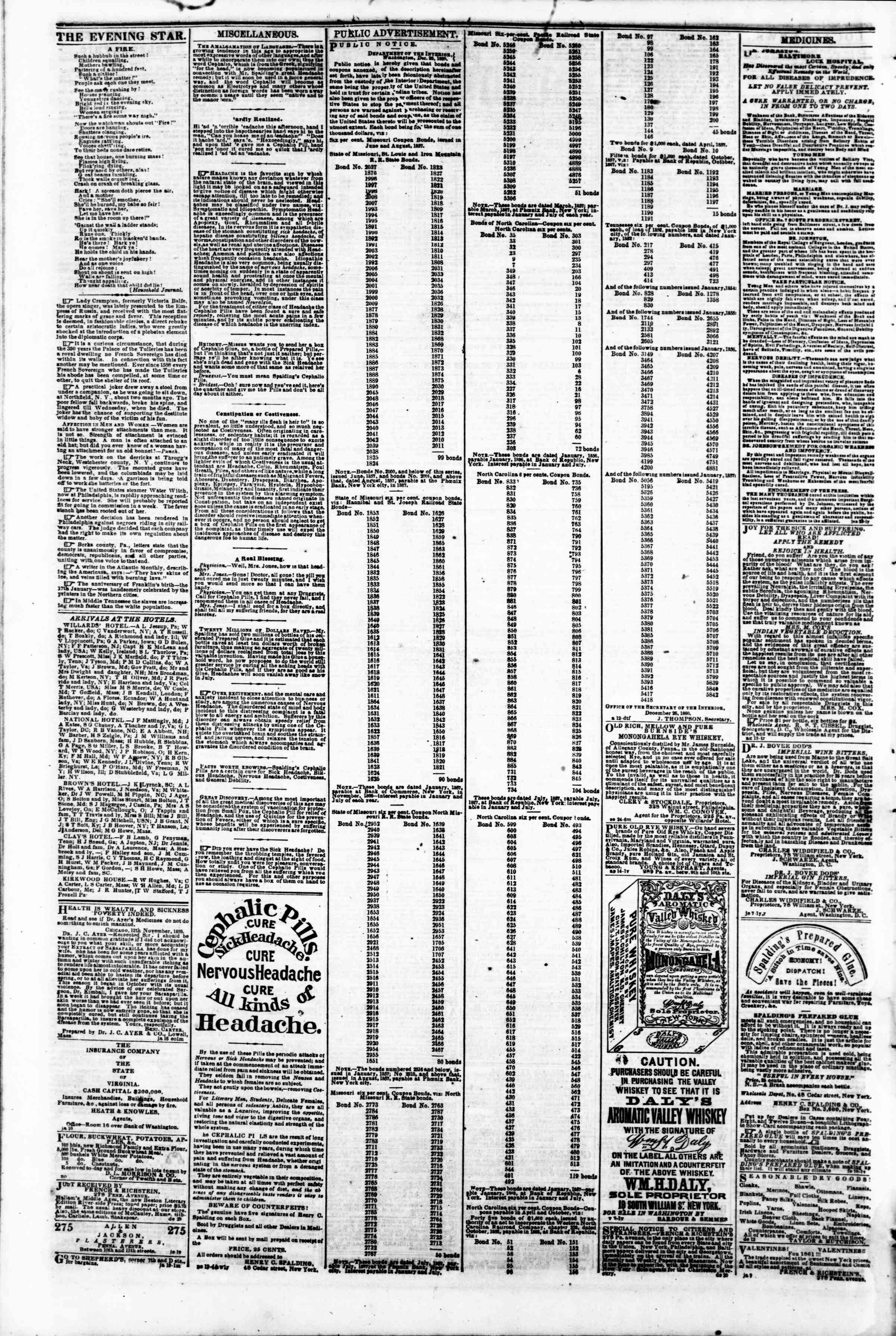Newspaper of Evening Star dated February 2, 1861 Page 4