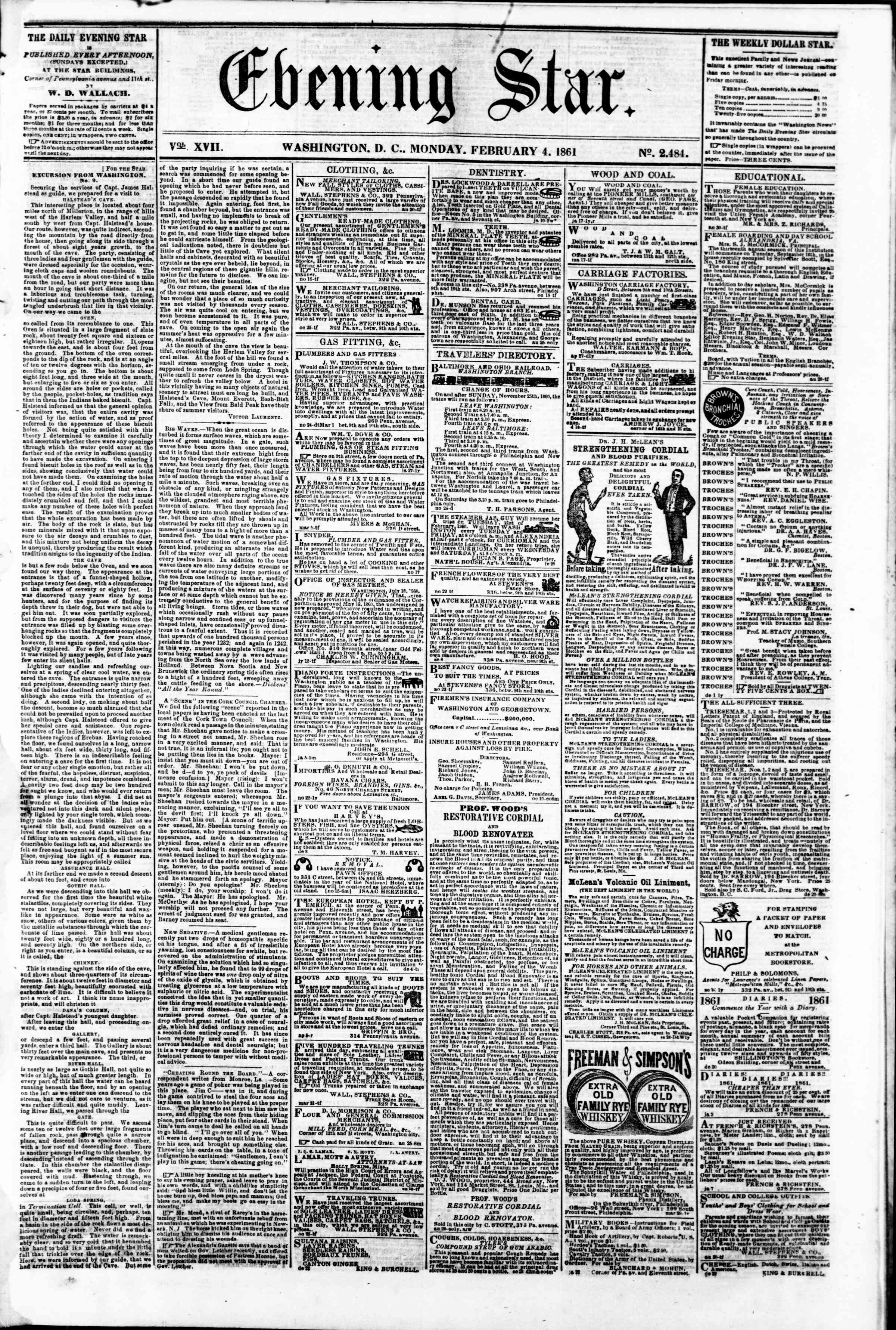 Newspaper of Evening Star dated February 4, 1861 Page 1