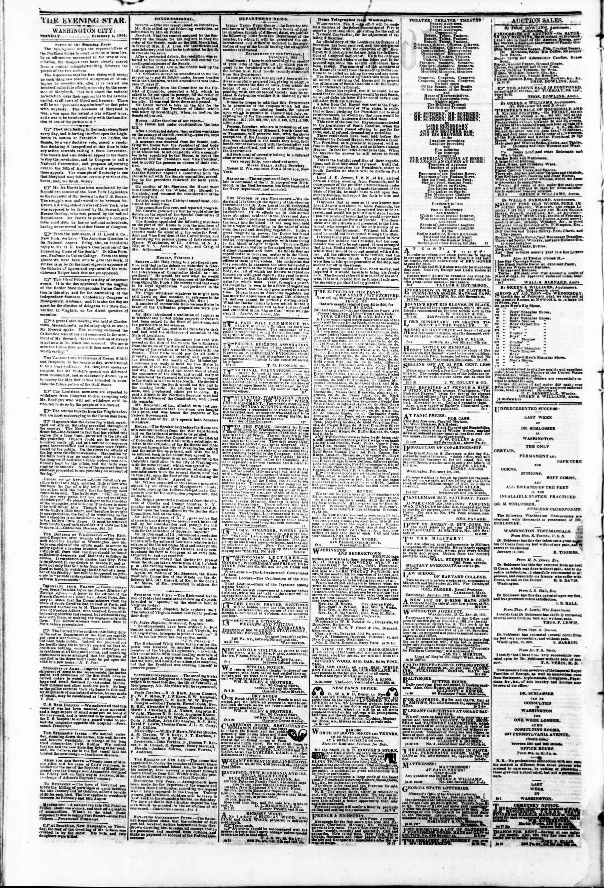 Newspaper of Evening Star dated February 4, 1861 Page 2