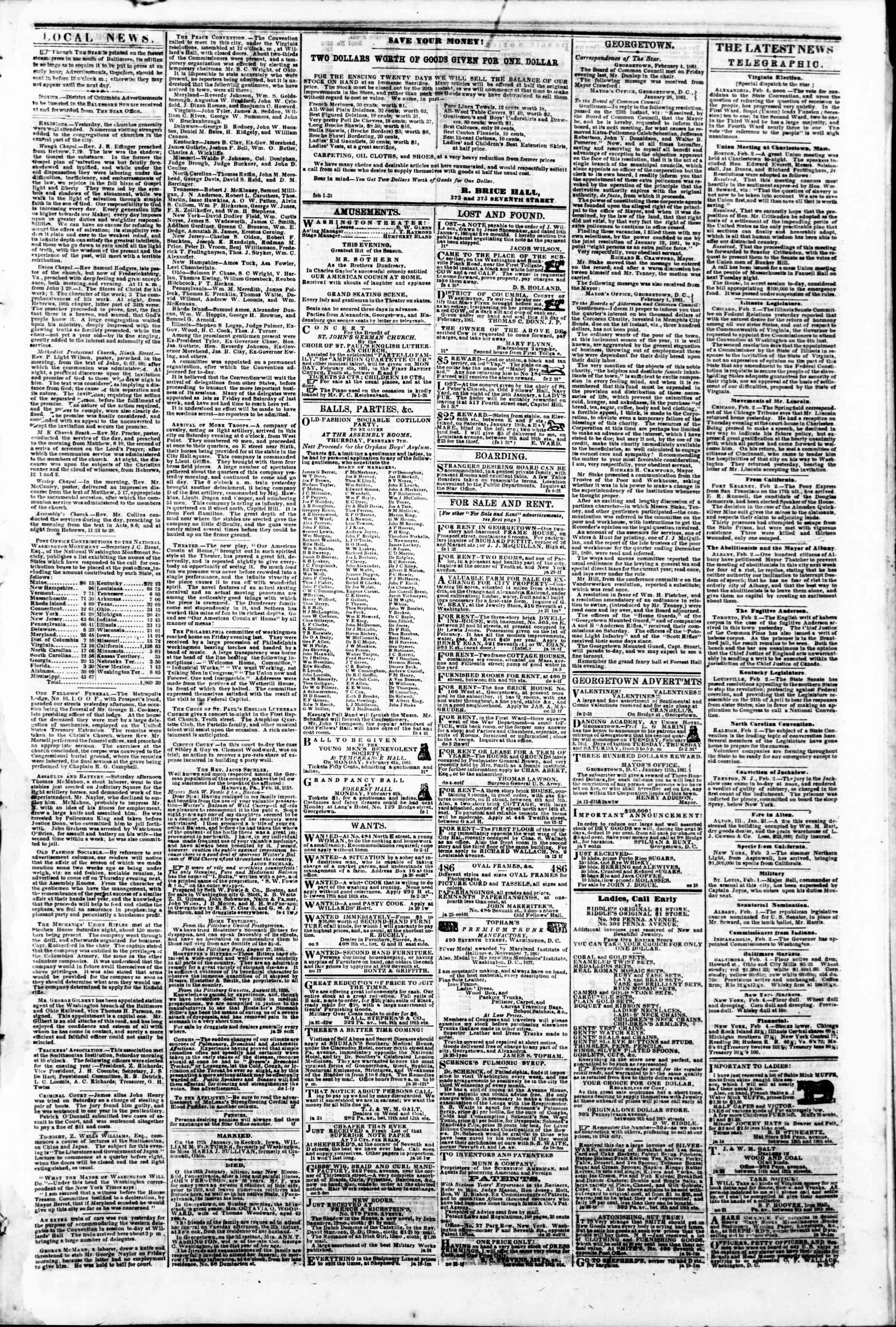 Newspaper of Evening Star dated February 4, 1861 Page 3