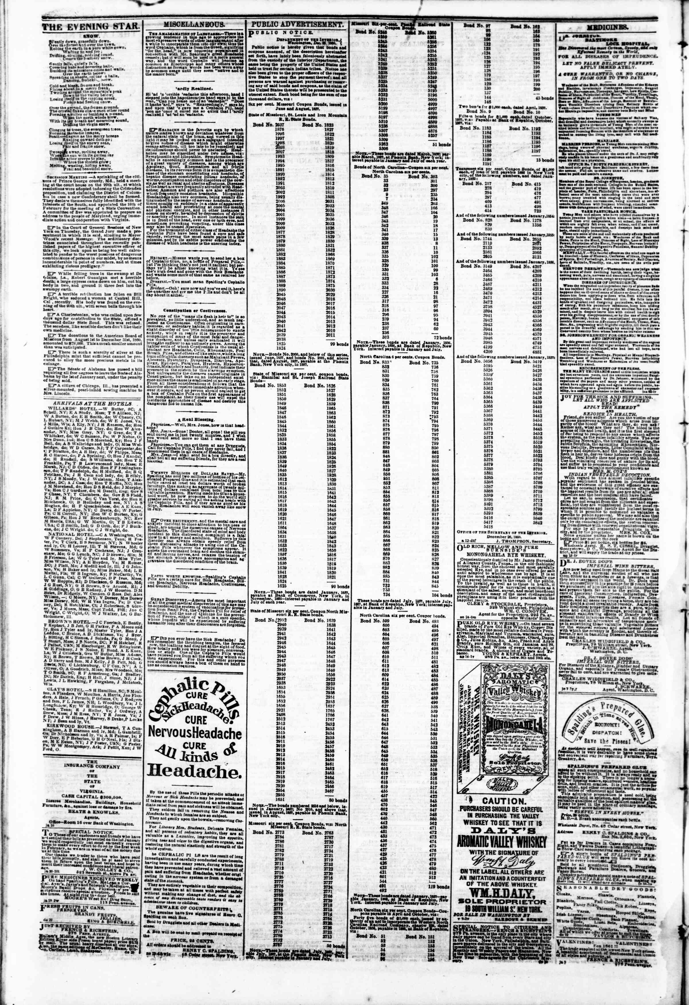 4 Şubat 1861 tarihli Evening Star Gazetesi Sayfa 4