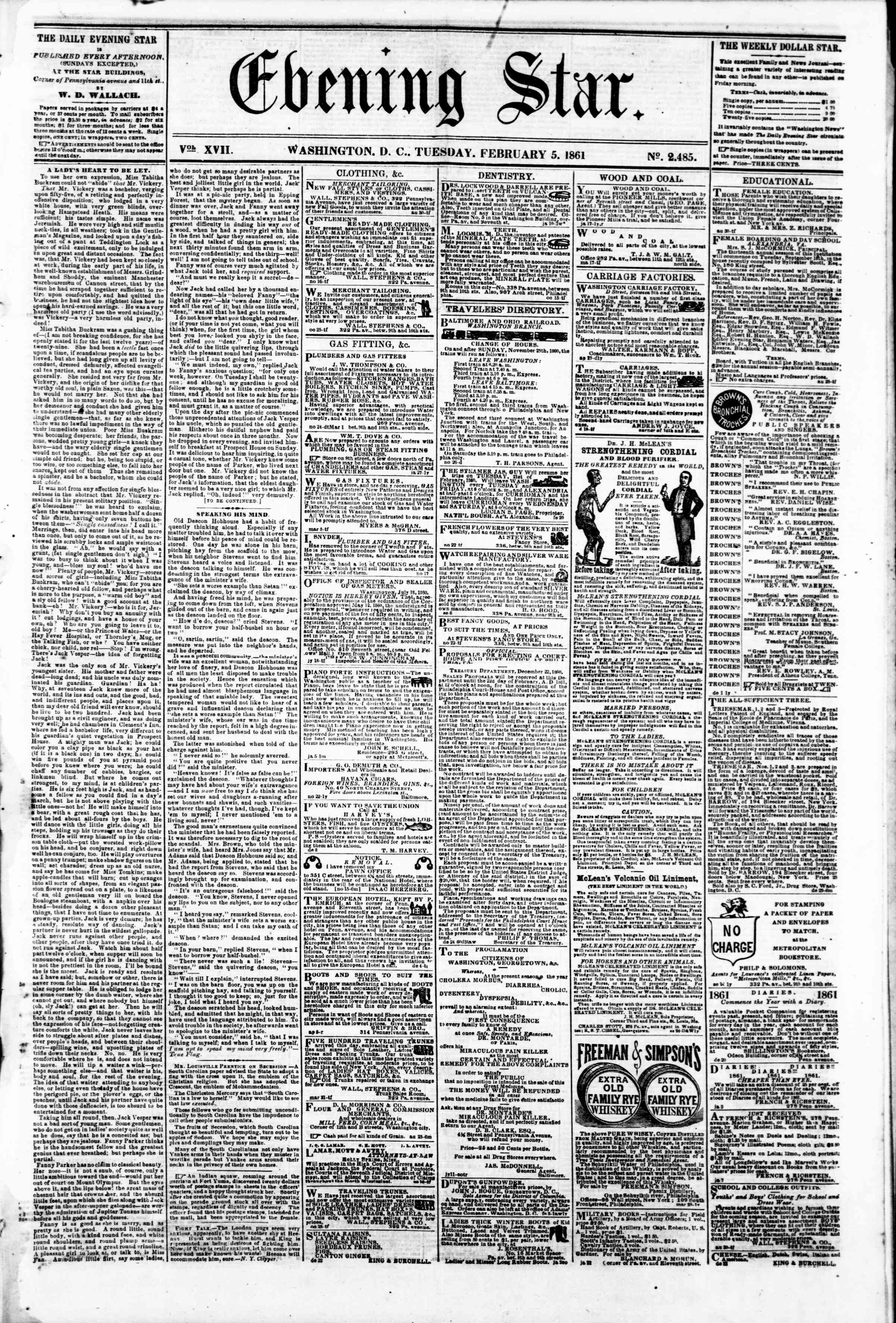 Newspaper of Evening Star dated February 5, 1861 Page 1