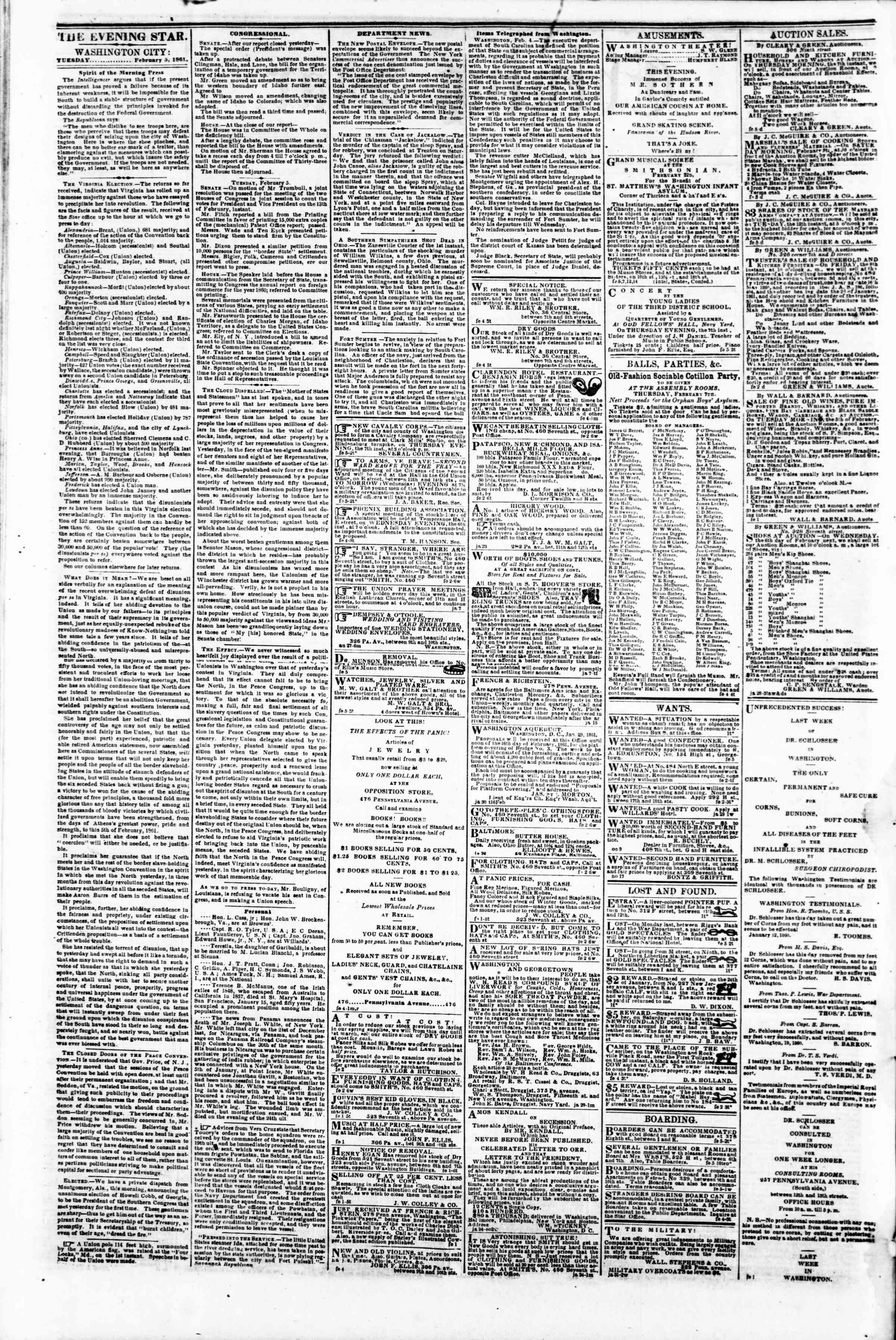Newspaper of Evening Star dated February 5, 1861 Page 2