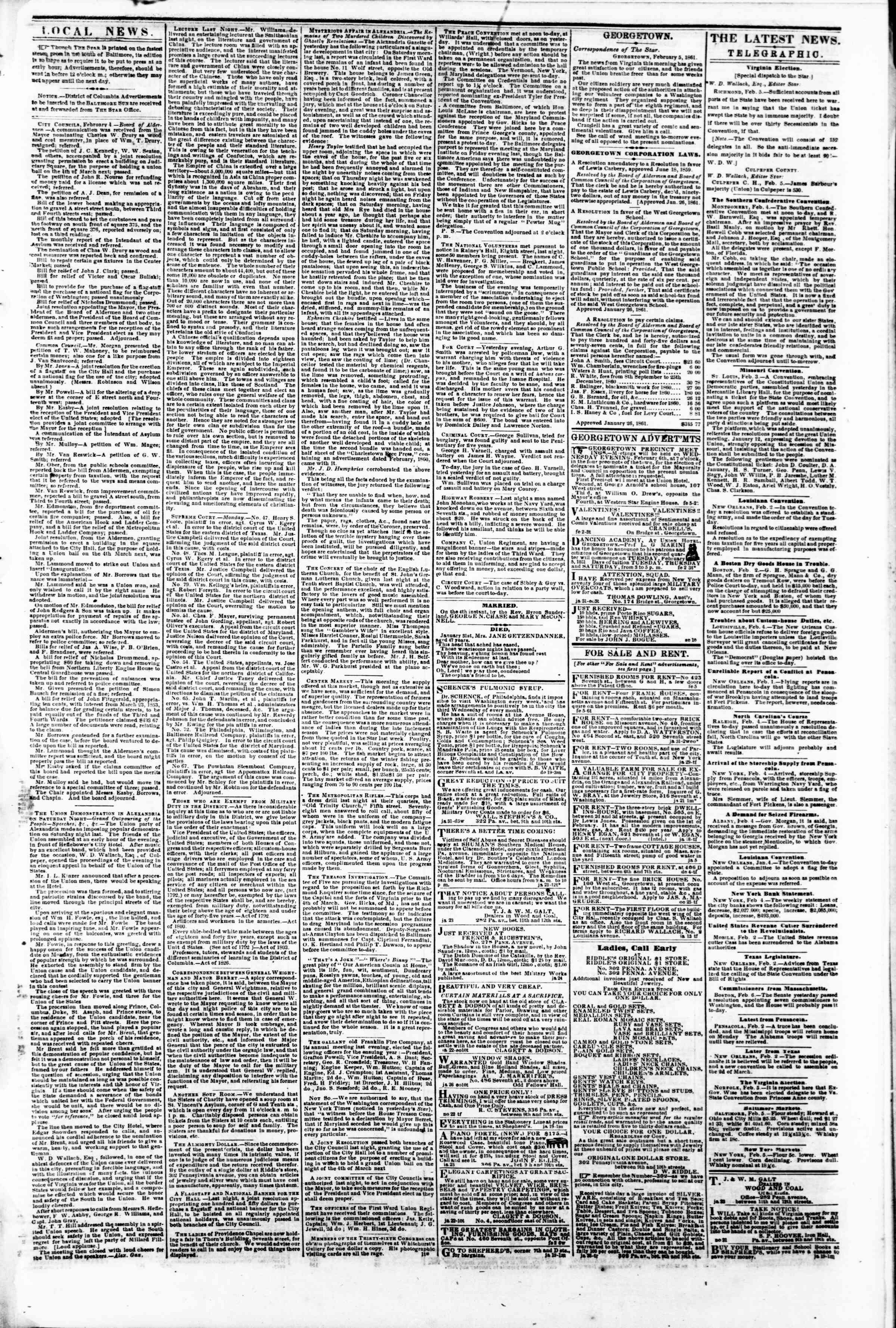 Newspaper of Evening Star dated February 5, 1861 Page 3