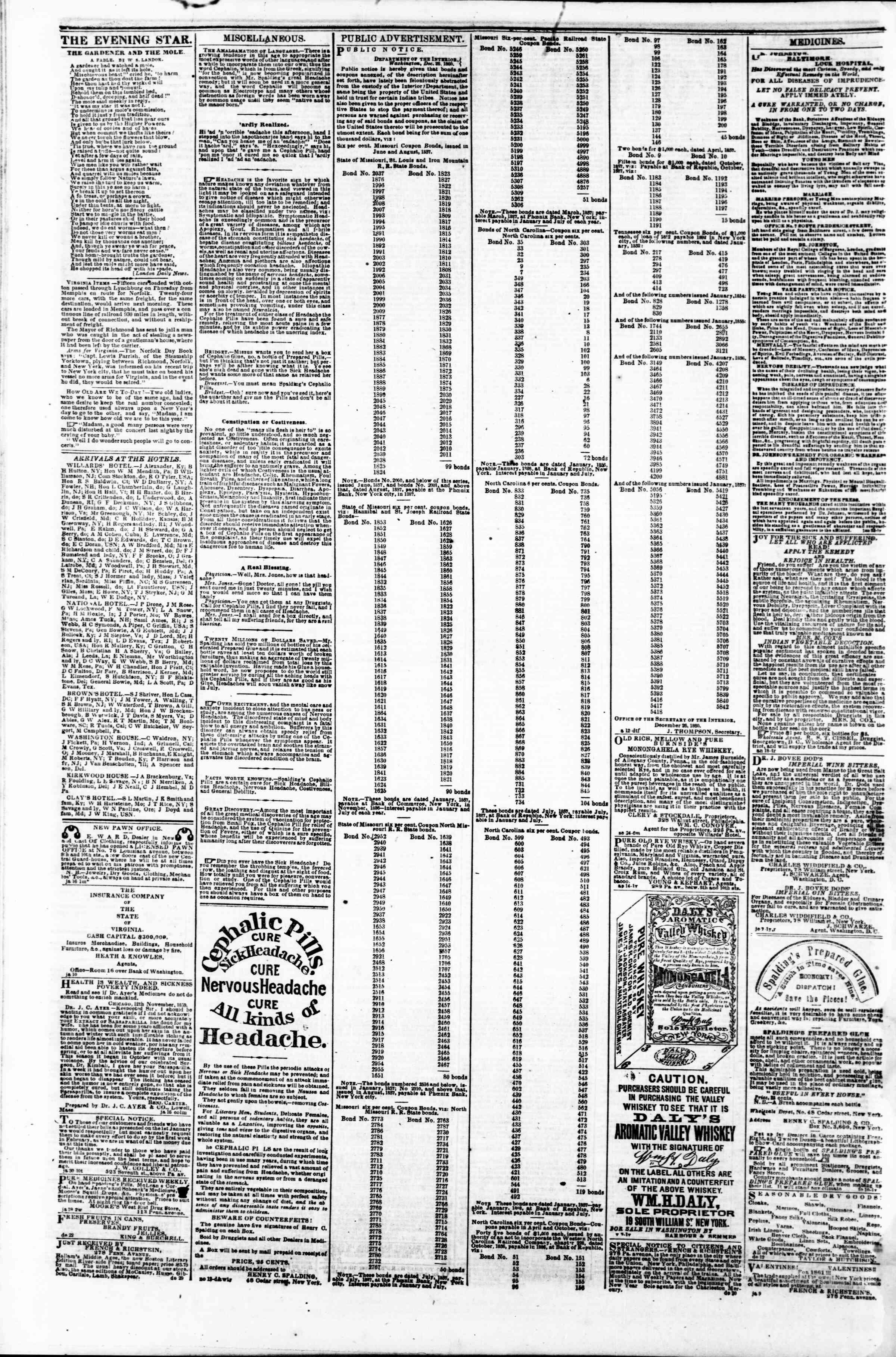 5 Şubat 1861 tarihli Evening Star Gazetesi Sayfa 4