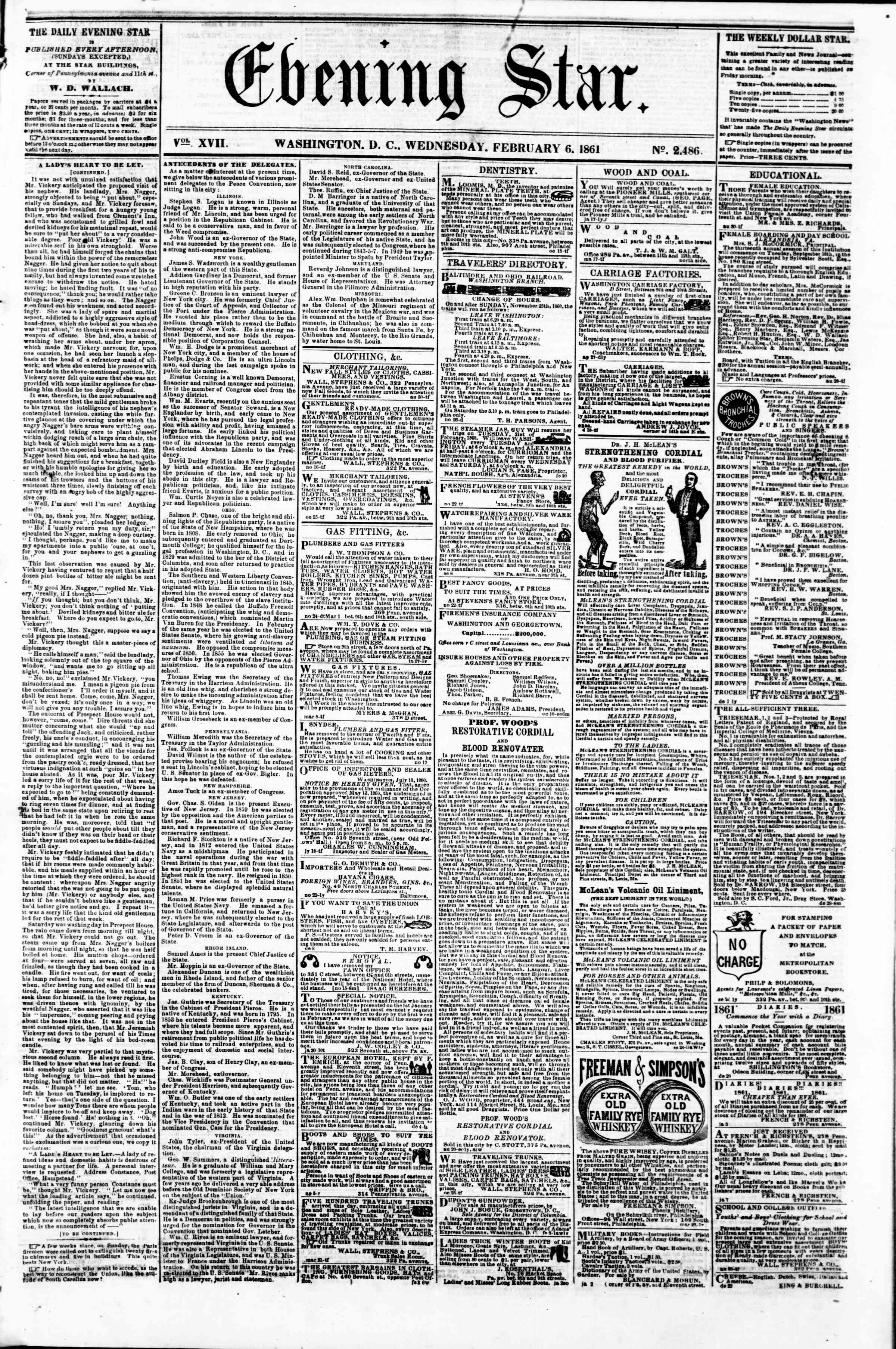 Newspaper of Evening Star dated February 6, 1861 Page 1
