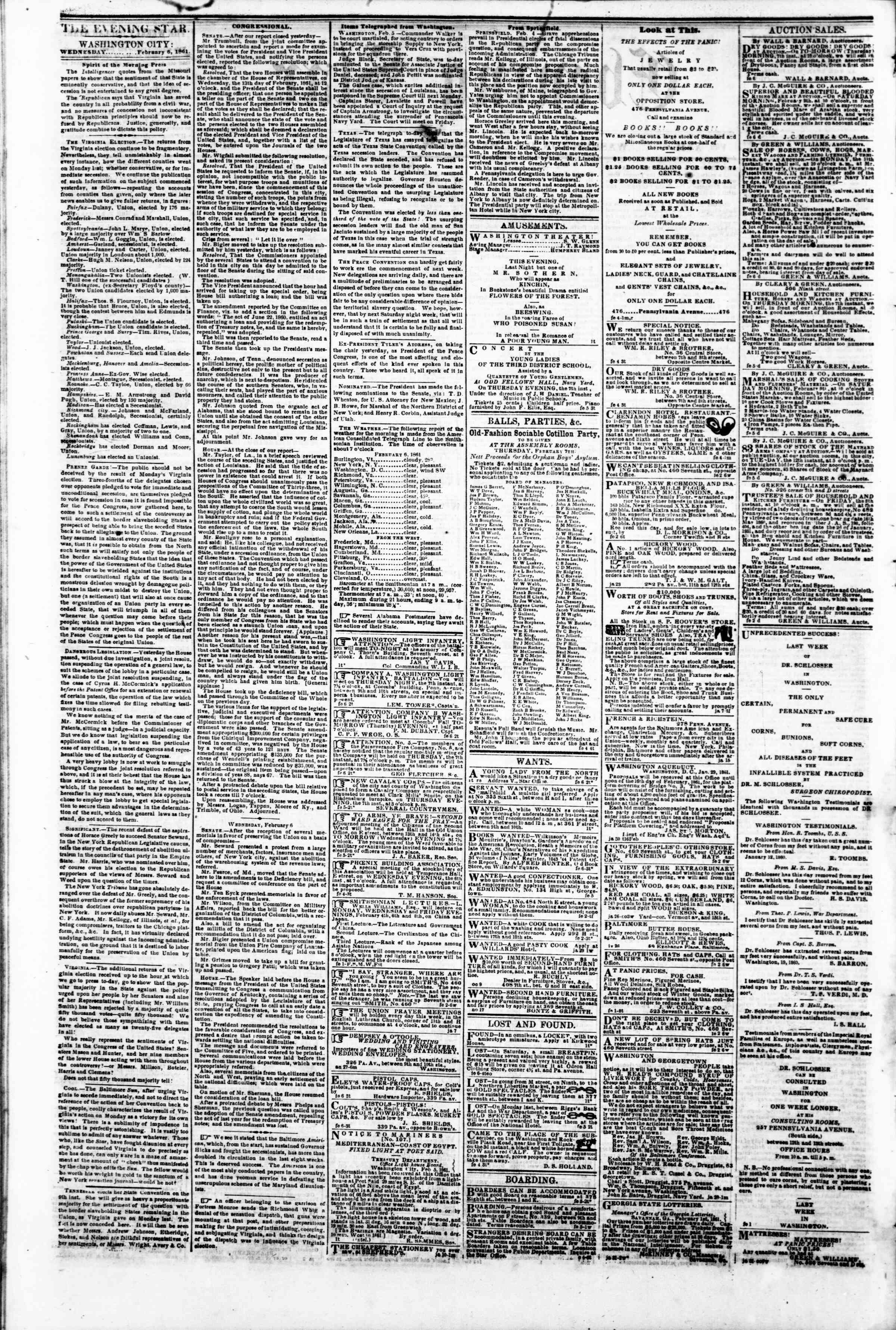 Newspaper of Evening Star dated February 6, 1861 Page 2