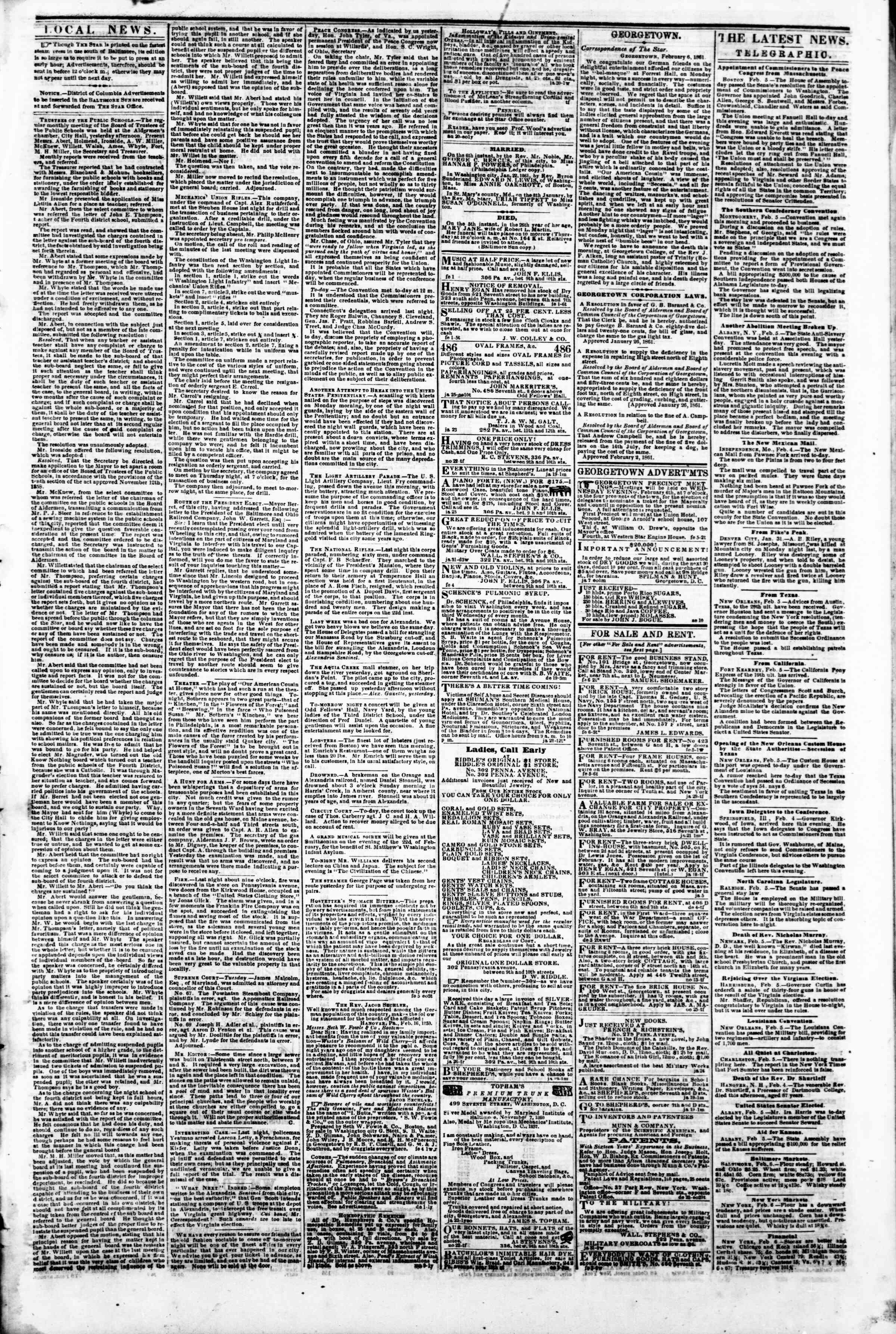 Newspaper of Evening Star dated February 6, 1861 Page 3