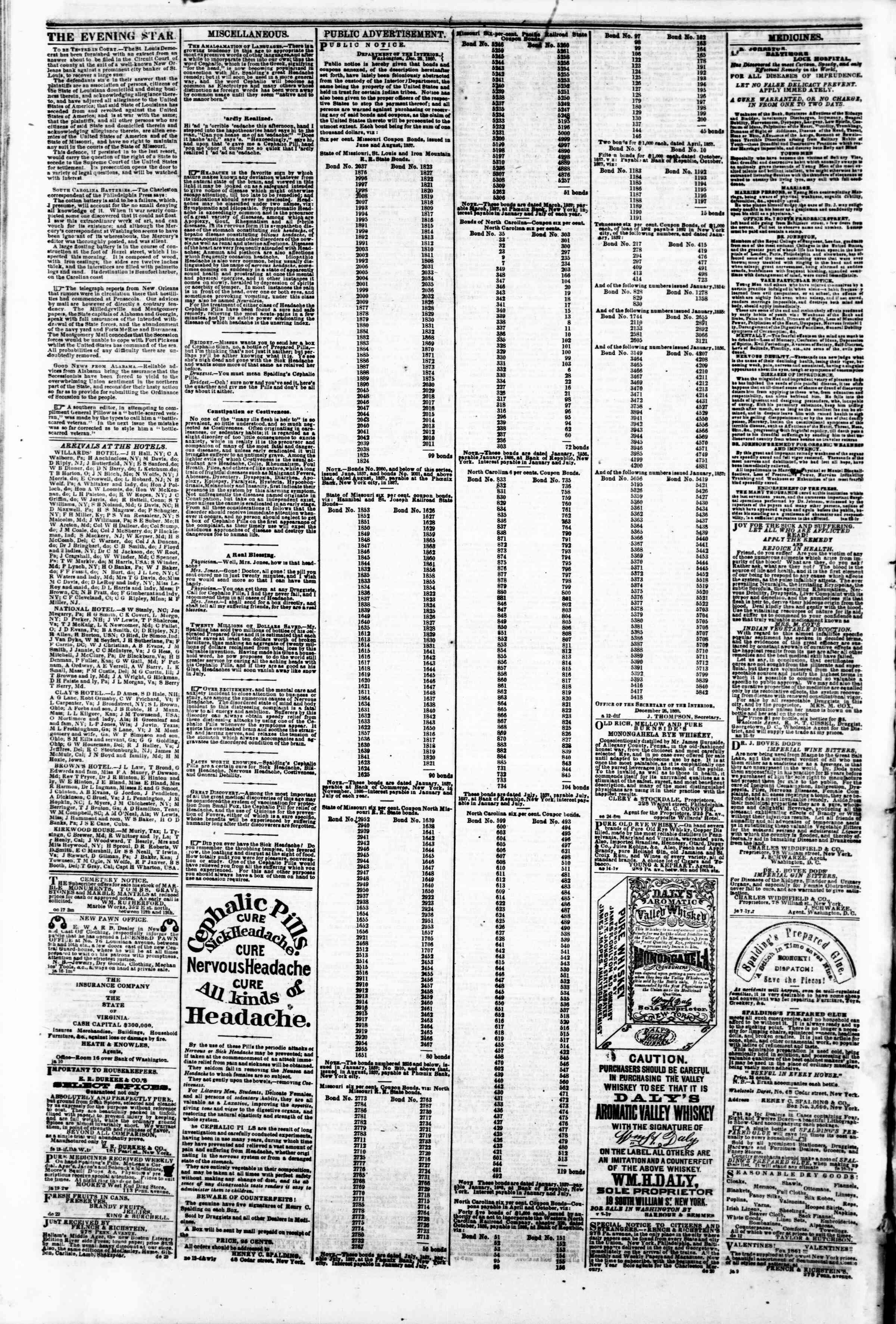 Newspaper of Evening Star dated February 6, 1861 Page 4