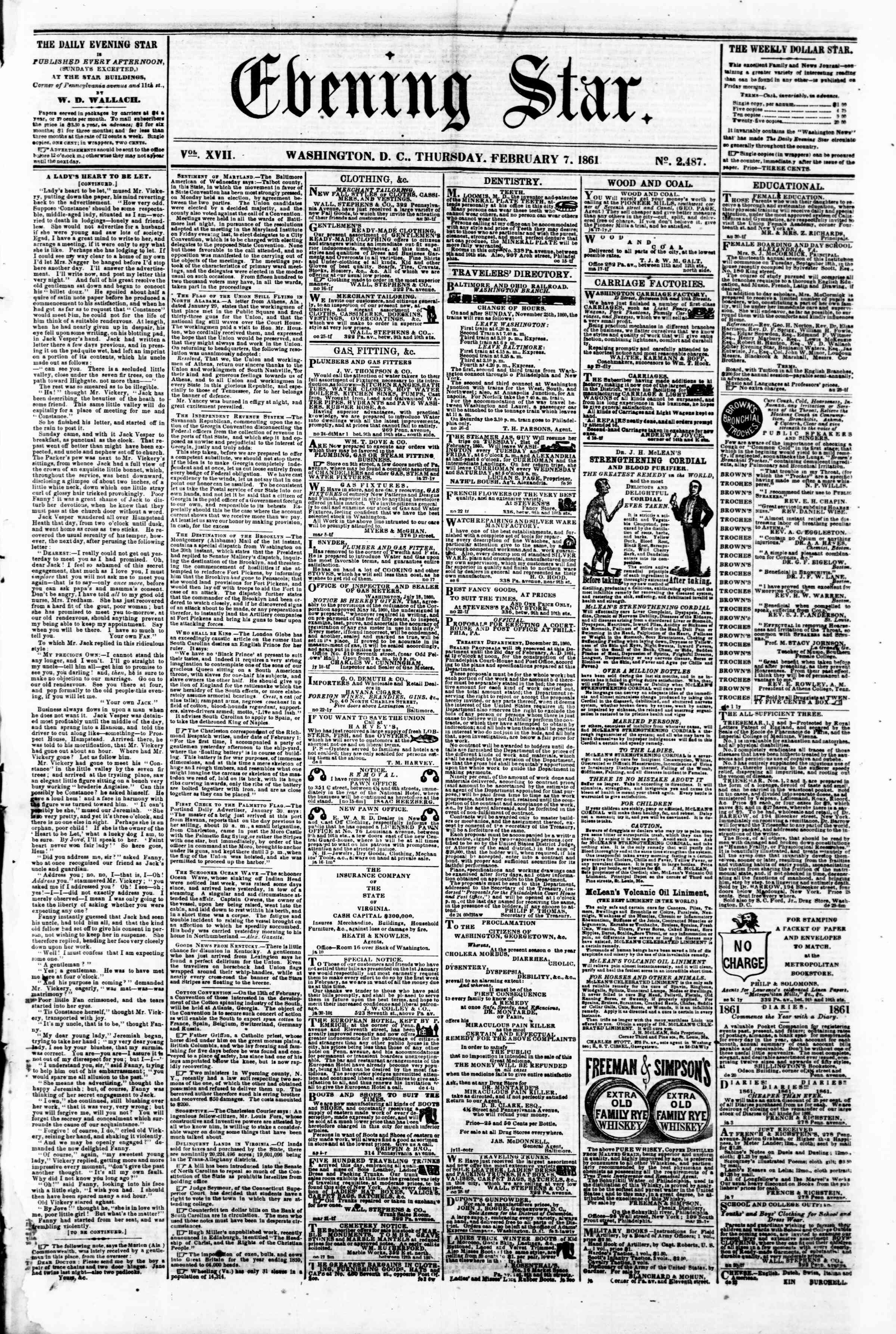 Newspaper of Evening Star dated February 7, 1861 Page 1