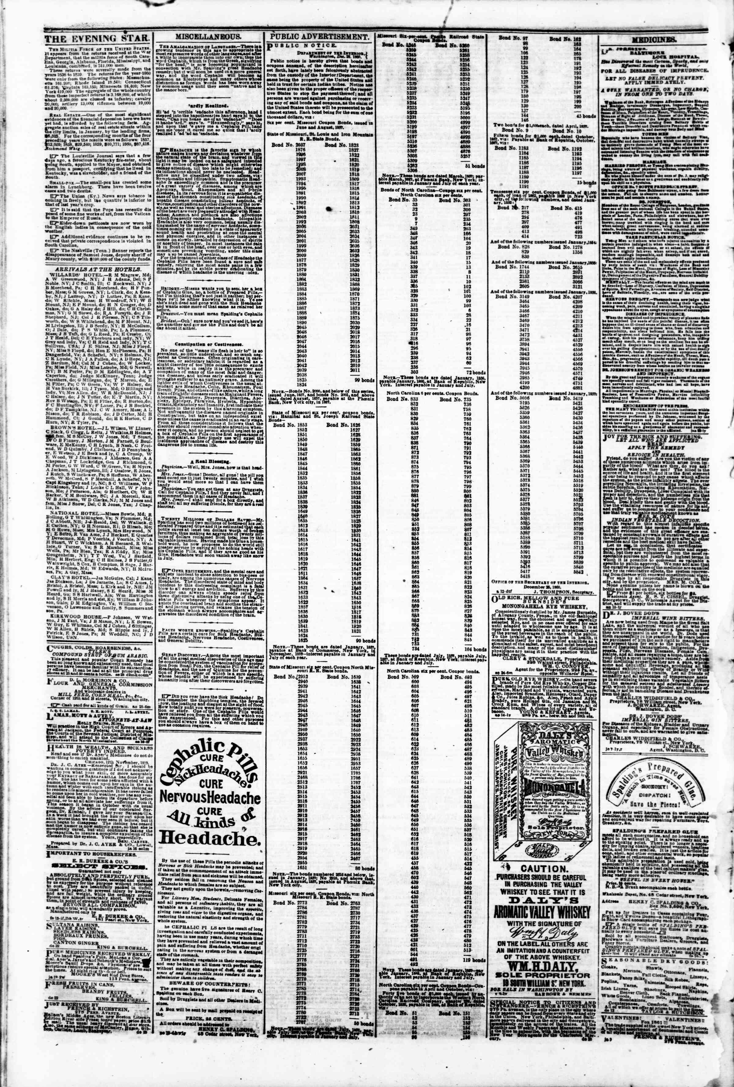 Newspaper of Evening Star dated February 7, 1861 Page 2