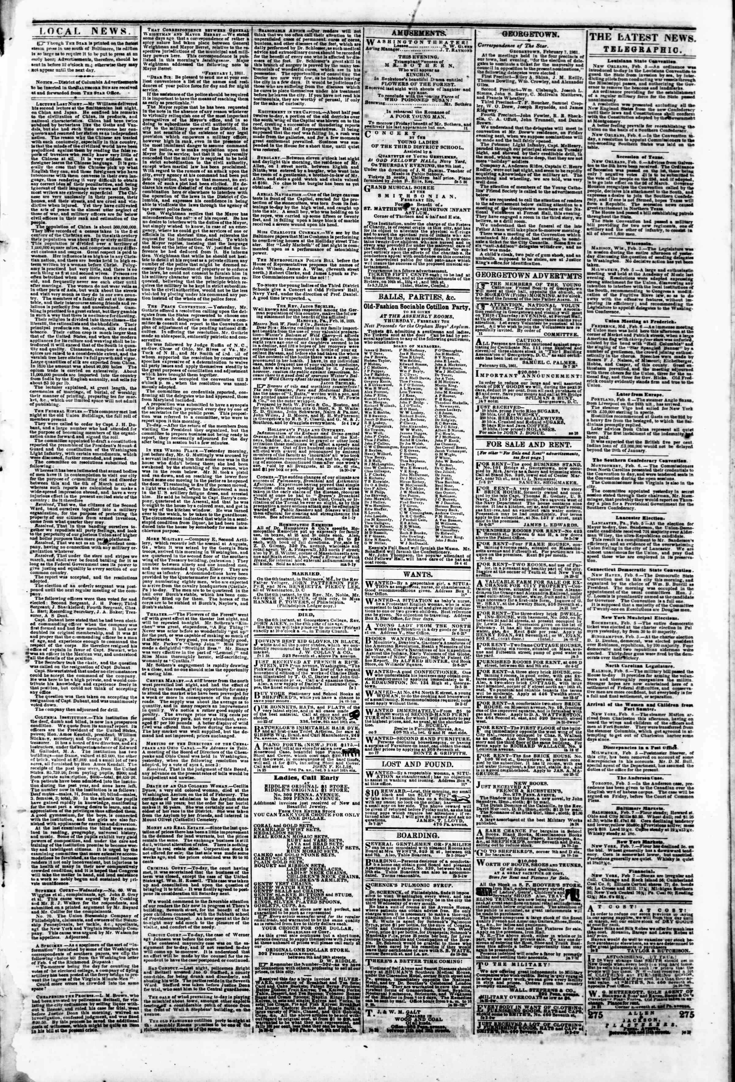 Newspaper of Evening Star dated February 7, 1861 Page 4
