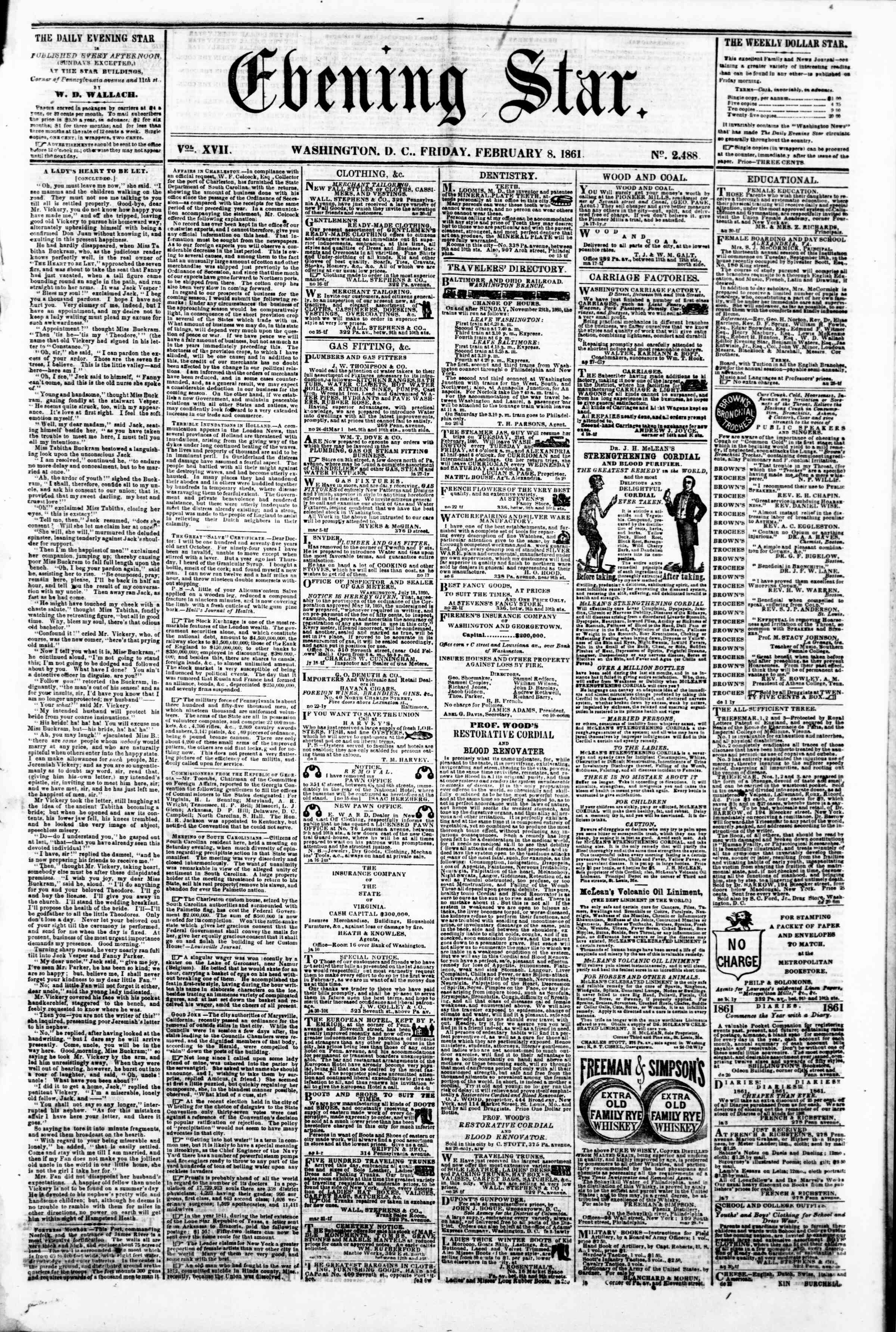 Newspaper of Evening Star dated February 8, 1861 Page 1