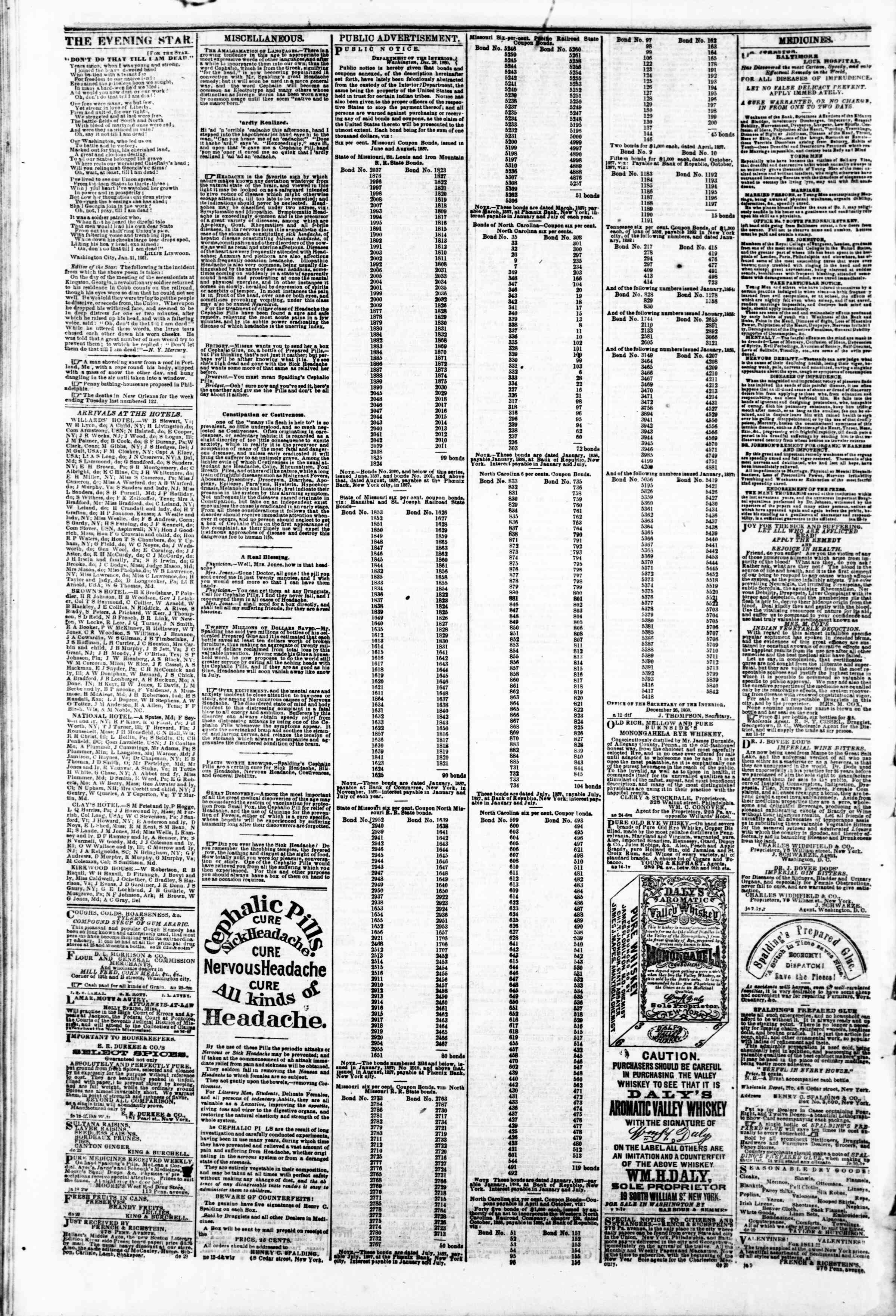 Newspaper of Evening Star dated February 8, 1861 Page 4