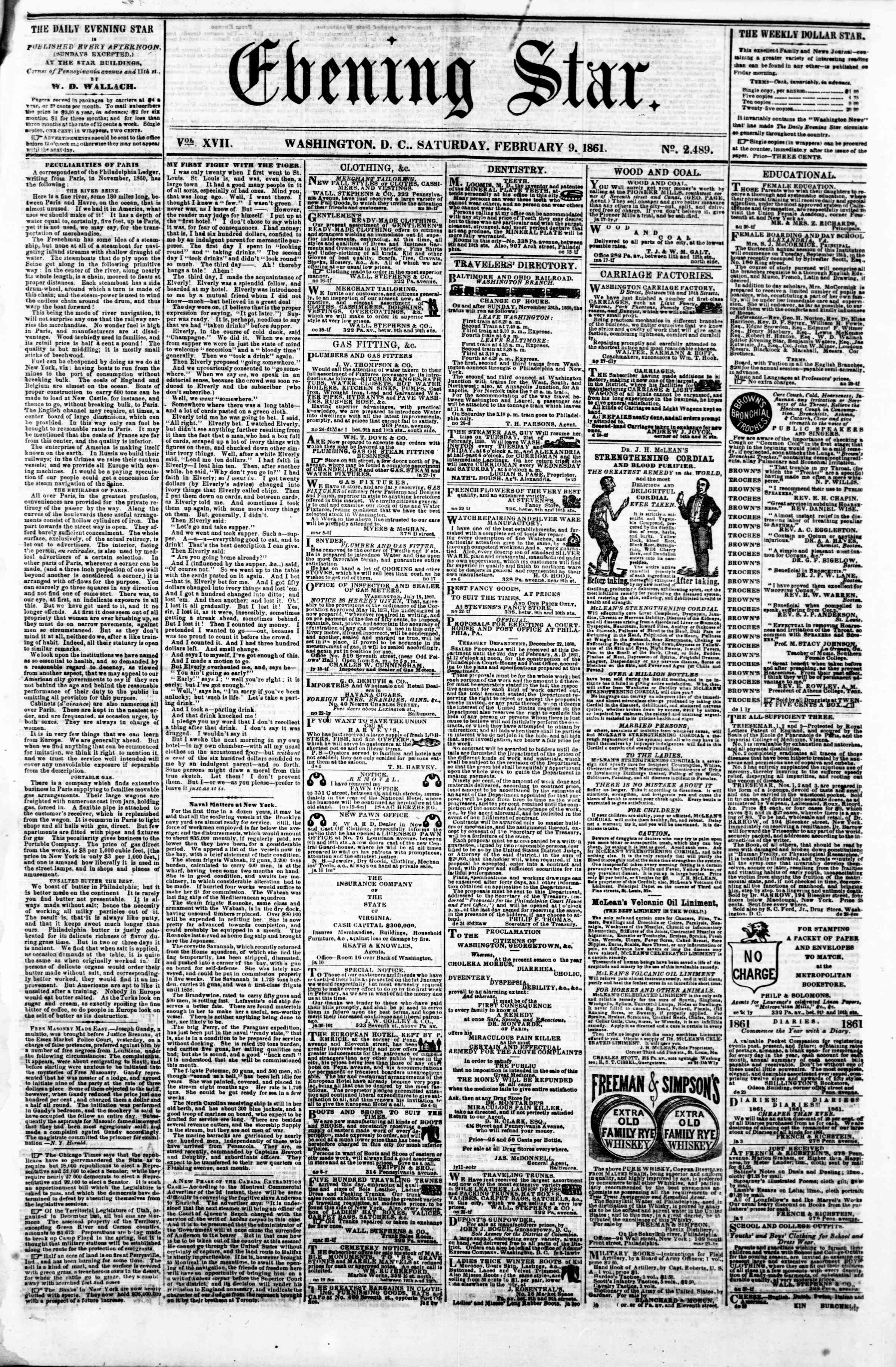 Newspaper of Evening Star dated February 9, 1861 Page 1