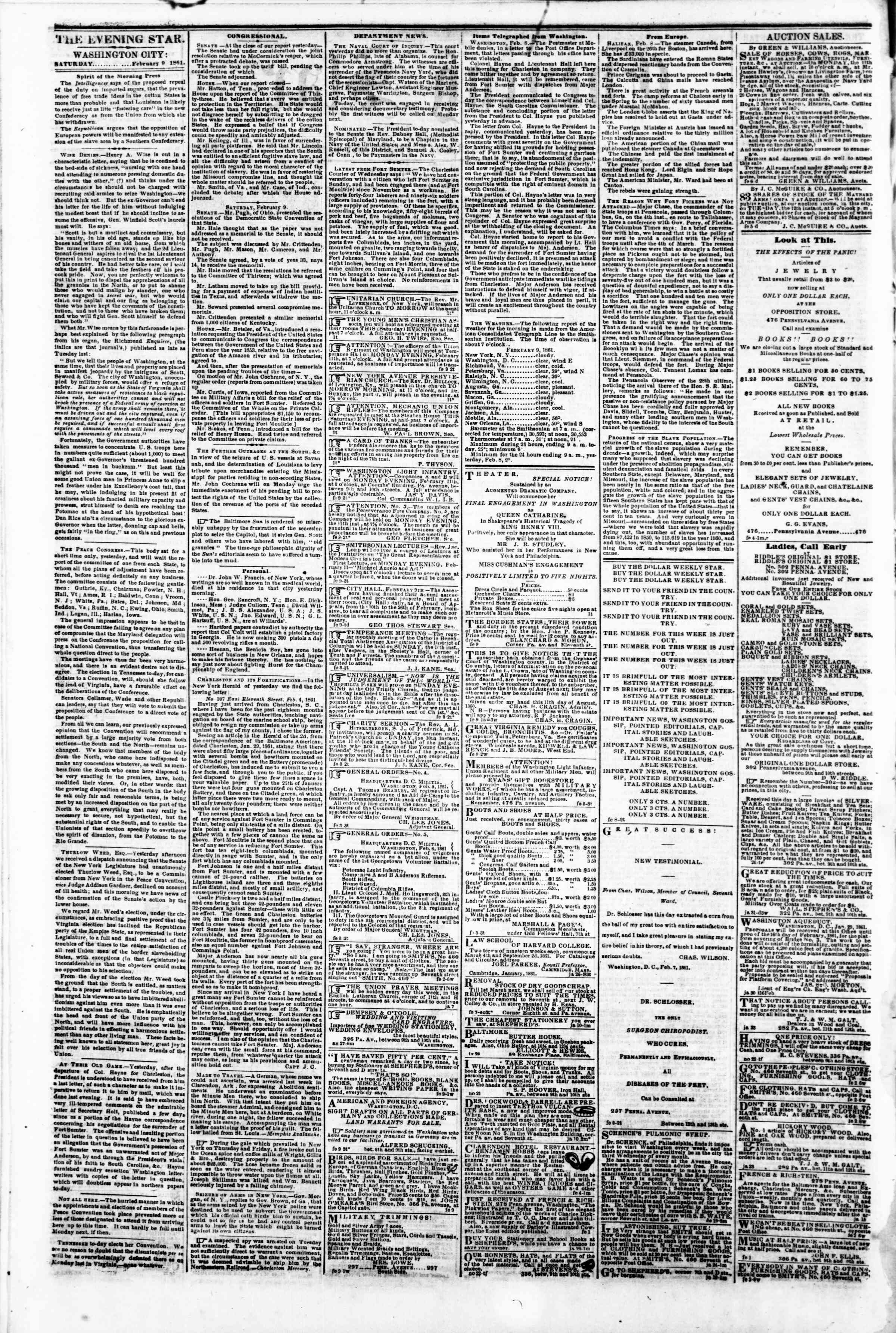 Newspaper of Evening Star dated February 9, 1861 Page 2