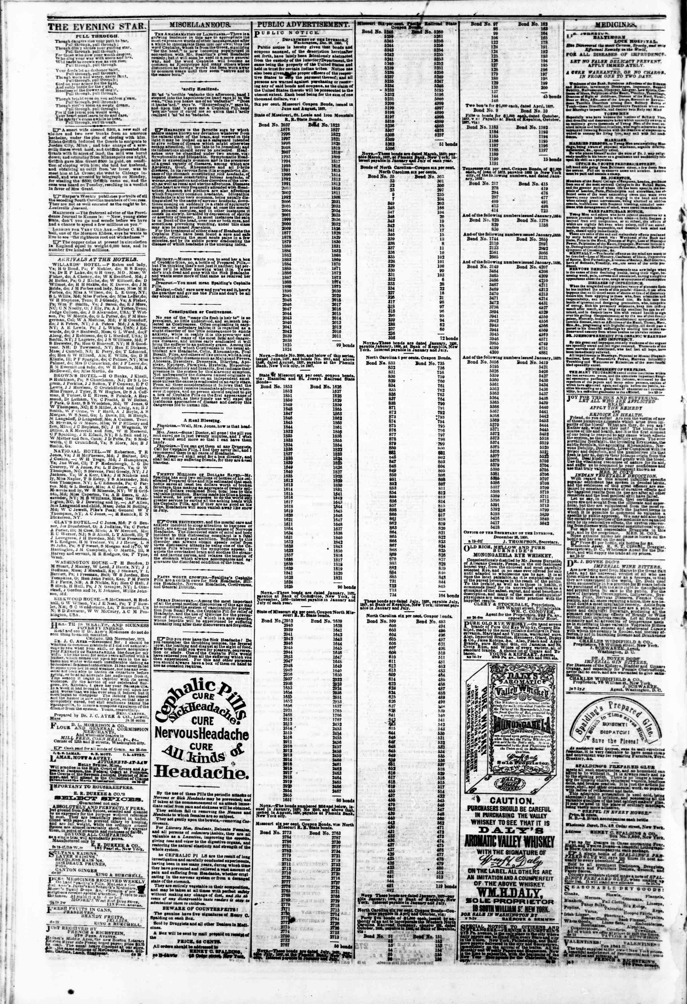 Newspaper of Evening Star dated February 9, 1861 Page 4