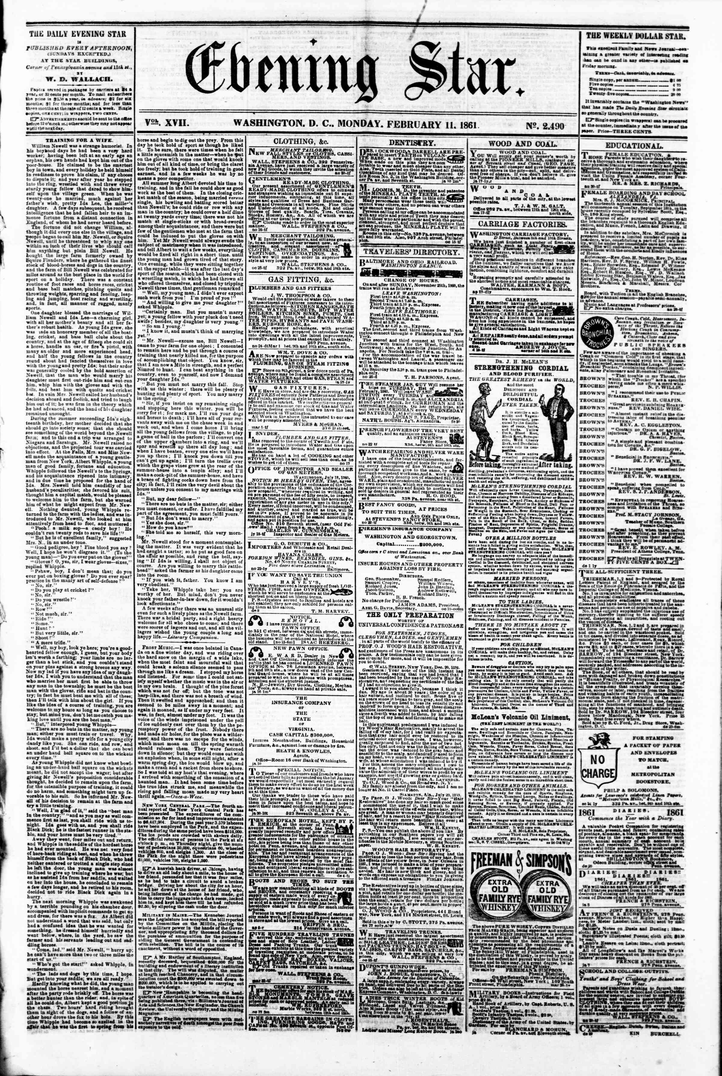 Newspaper of Evening Star dated February 11, 1861 Page 1