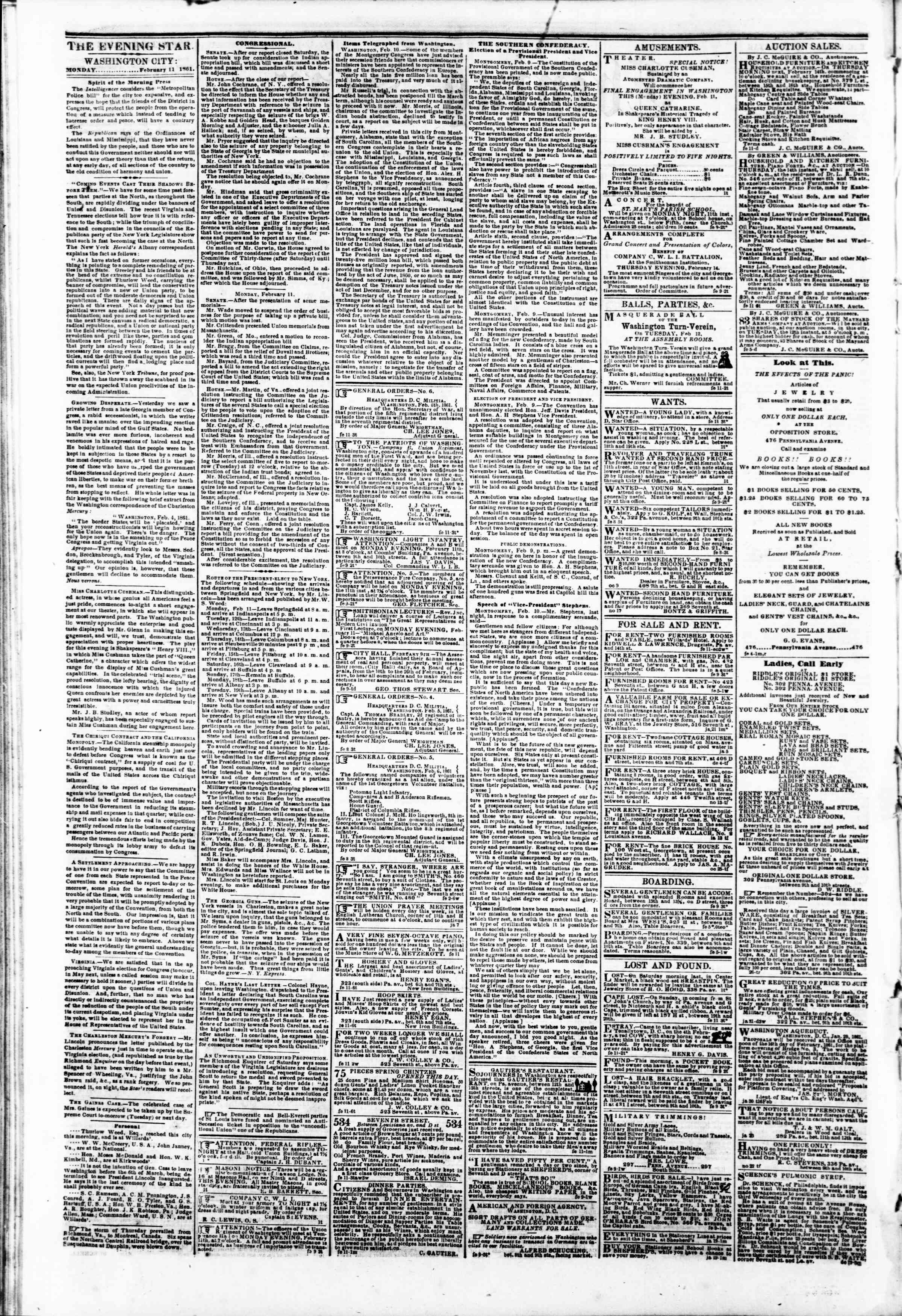 Newspaper of Evening Star dated February 11, 1861 Page 2