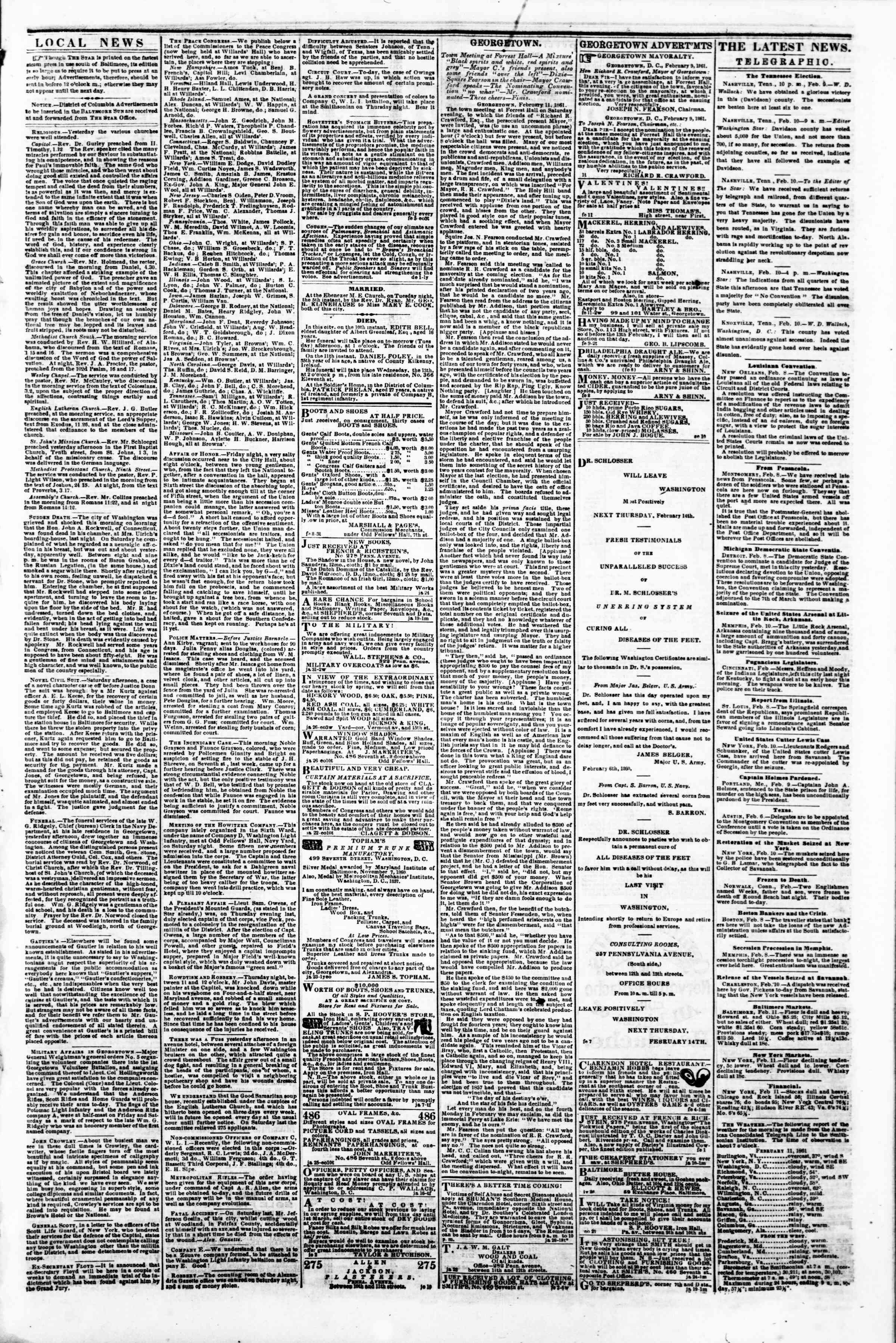 Newspaper of Evening Star dated February 11, 1861 Page 3