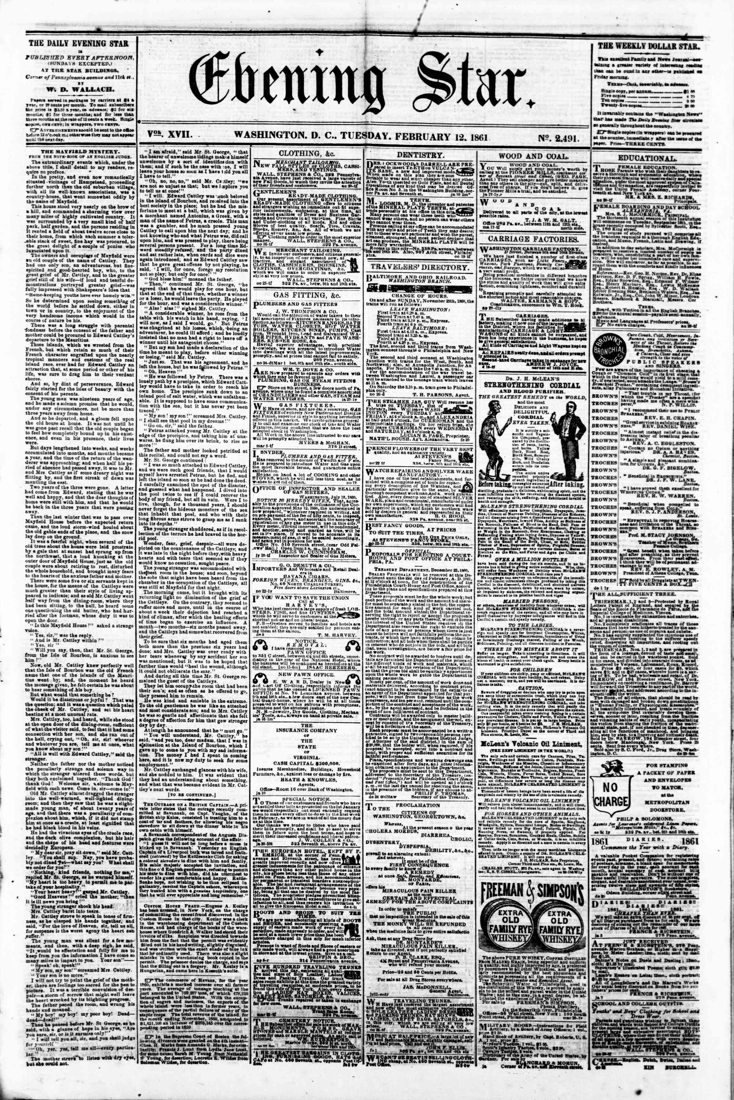 Newspaper of Evening Star dated February 12, 1861 Page 1