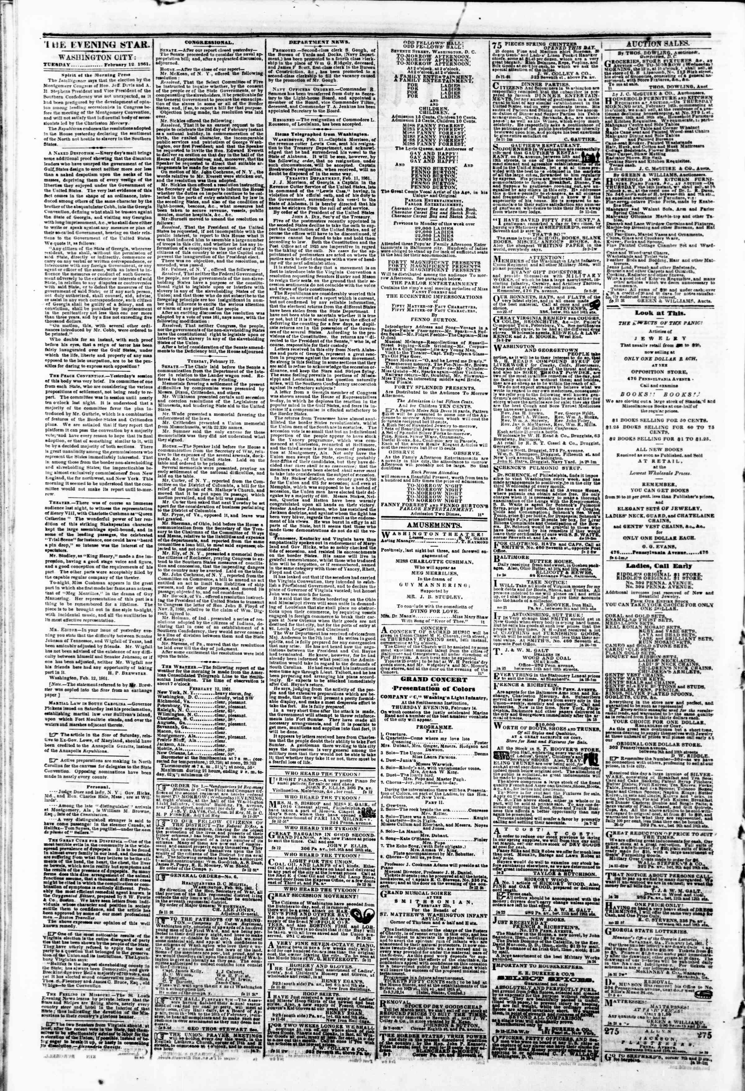 Newspaper of Evening Star dated February 12, 1861 Page 2
