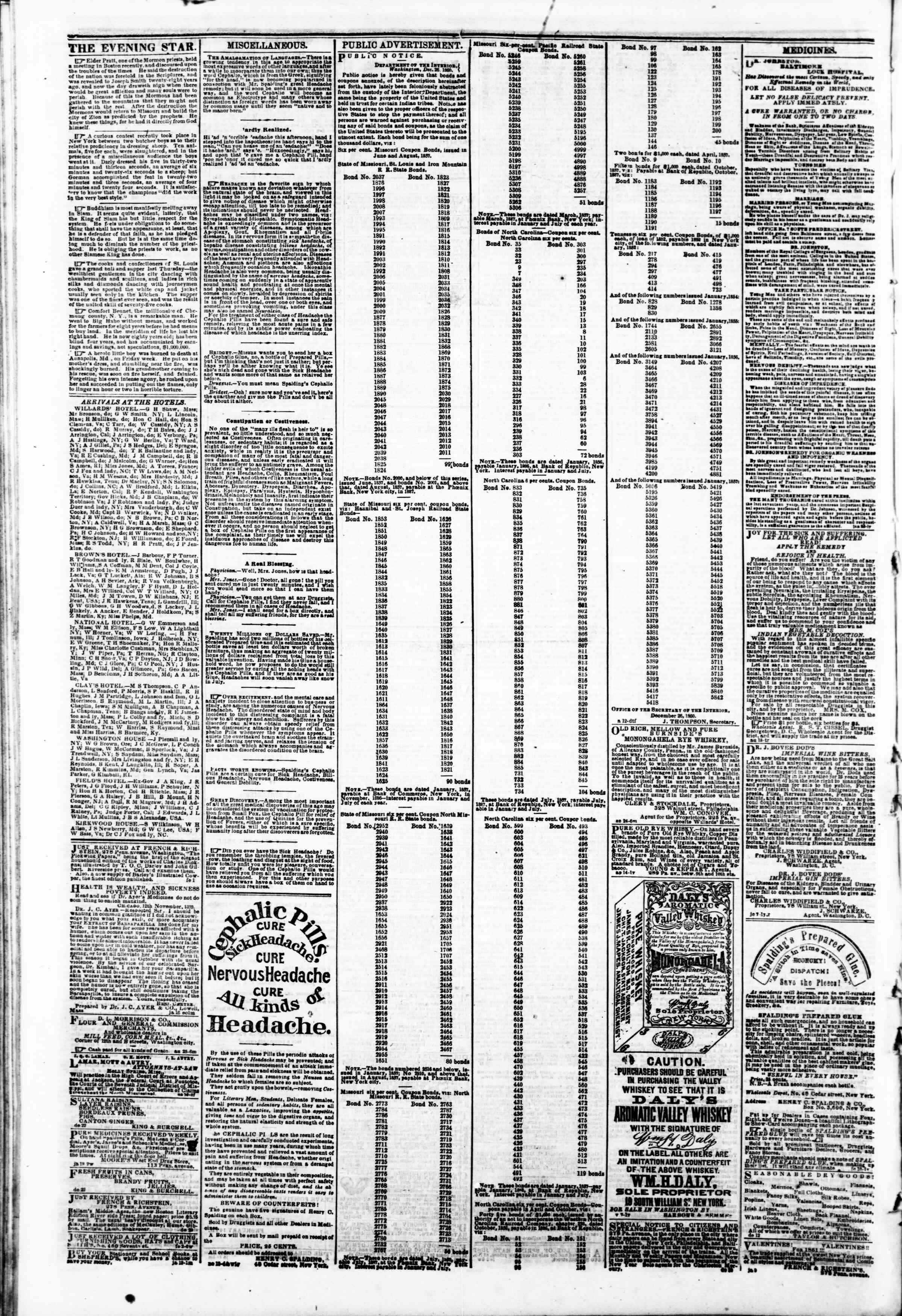 Newspaper of Evening Star dated February 12, 1861 Page 4