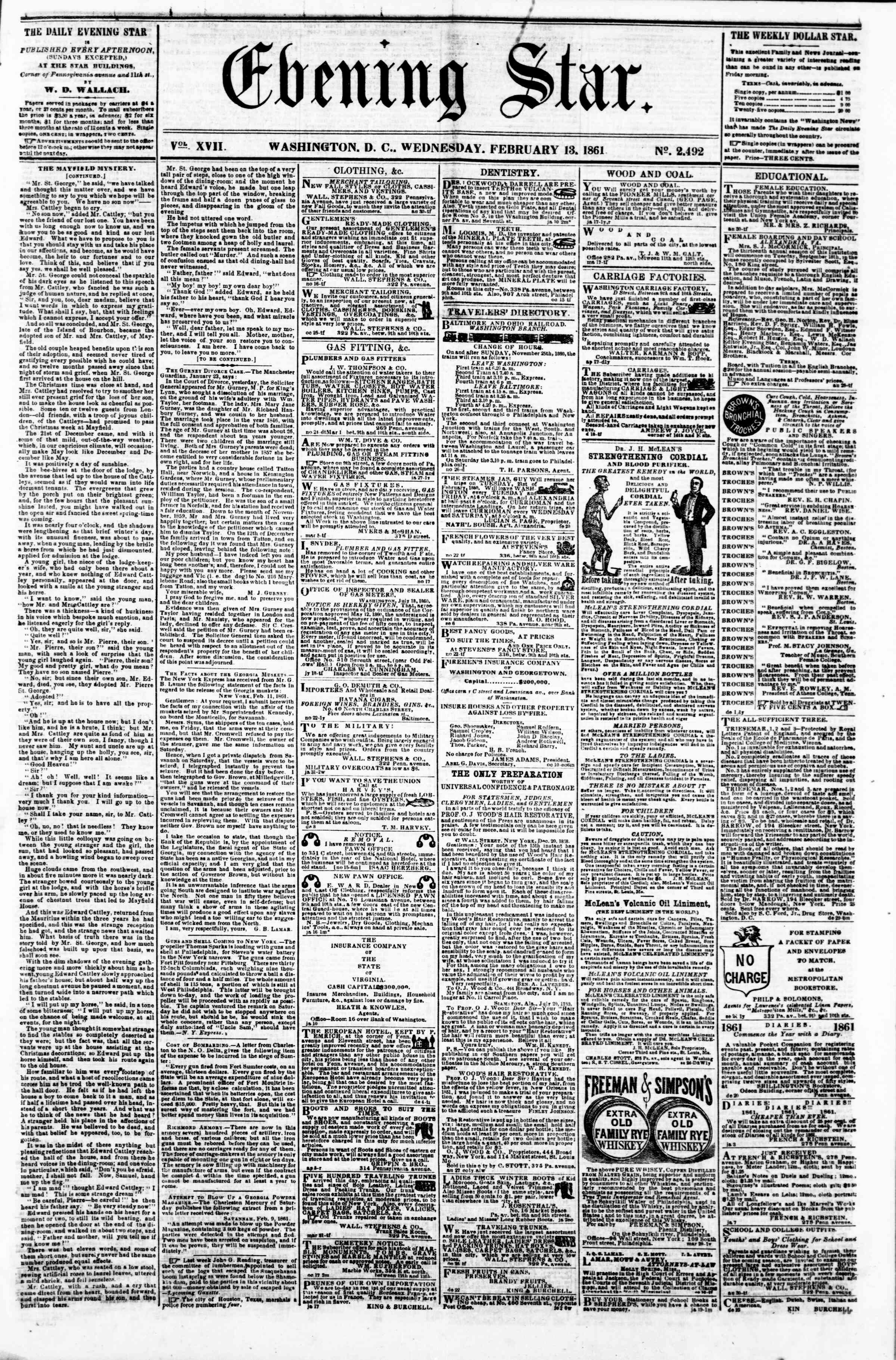 Newspaper of Evening Star dated February 13, 1861 Page 1