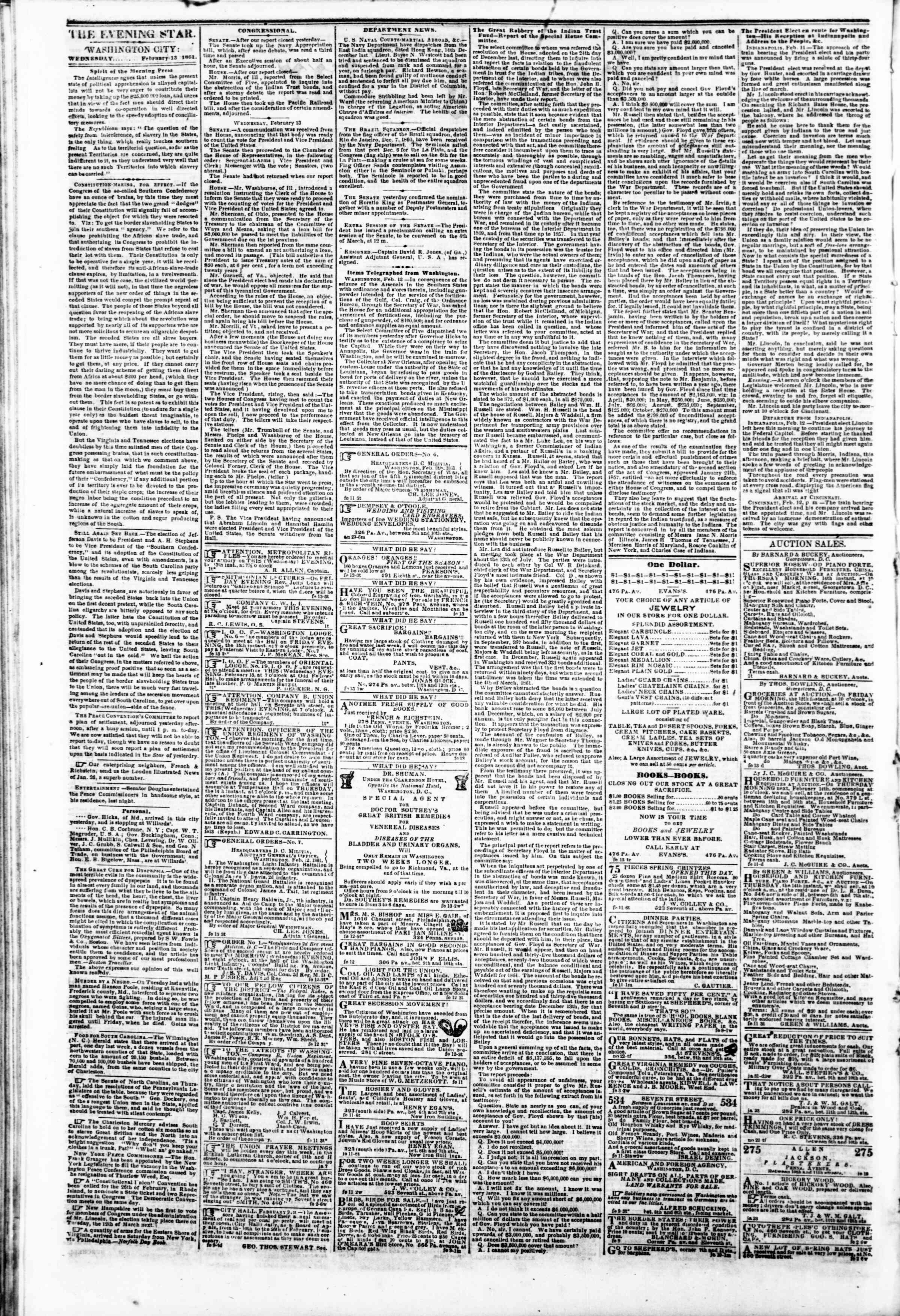 Newspaper of Evening Star dated February 13, 1861 Page 2