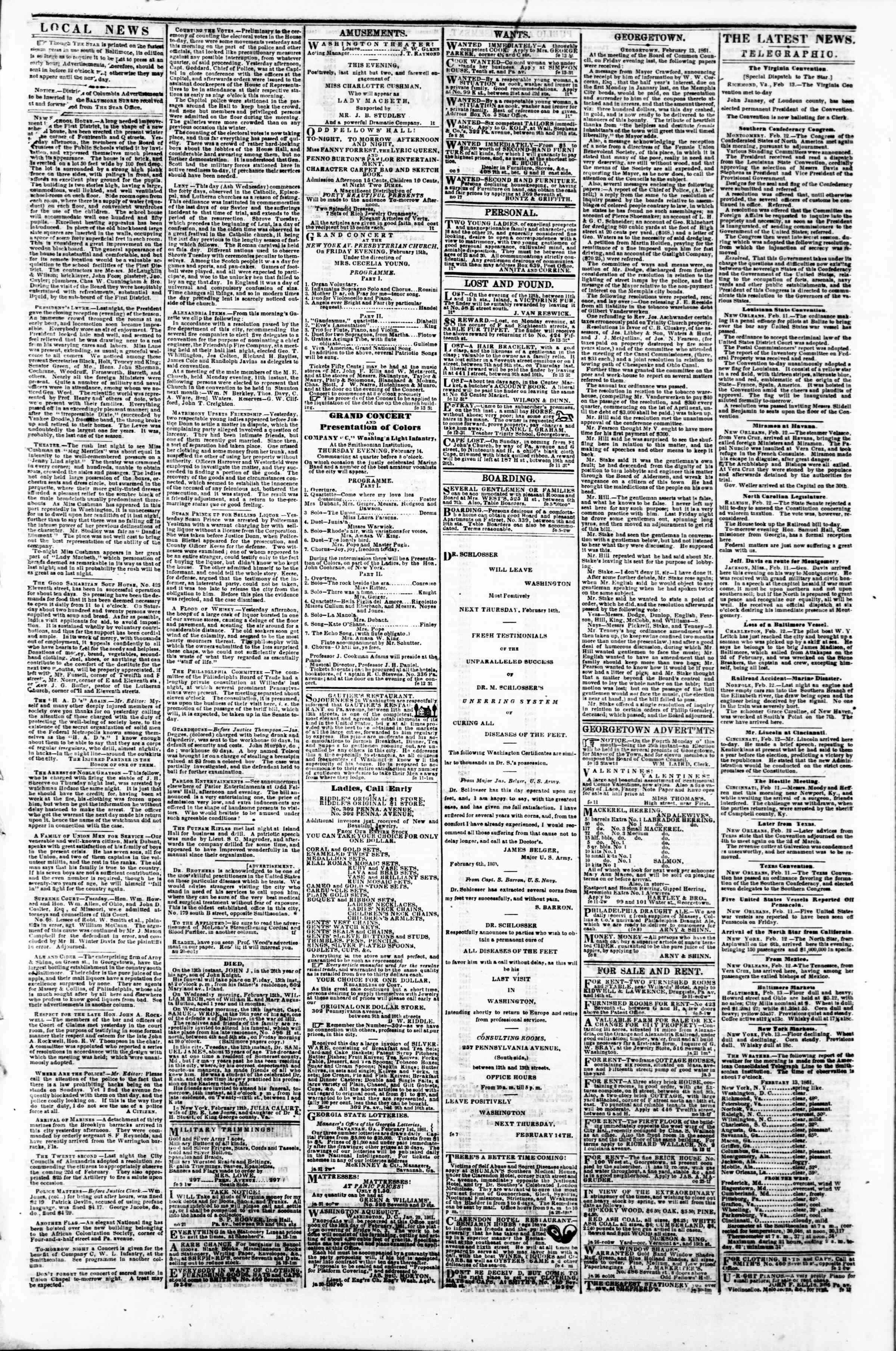 Newspaper of Evening Star dated February 13, 1861 Page 3
