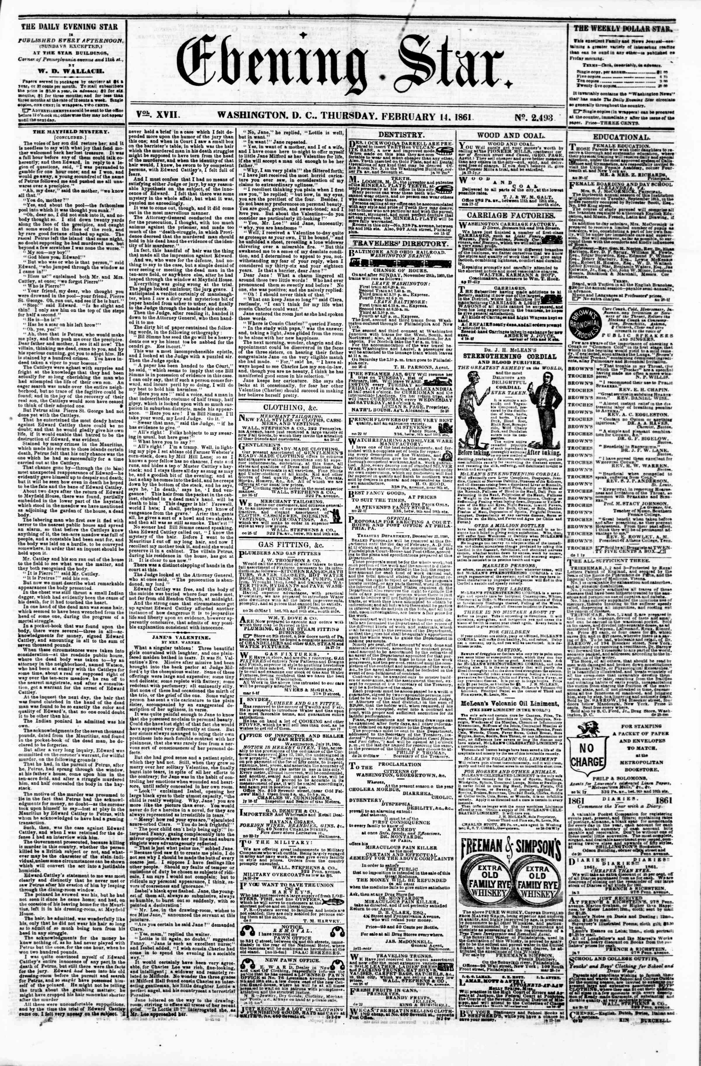 Newspaper of Evening Star dated February 14, 1861 Page 1