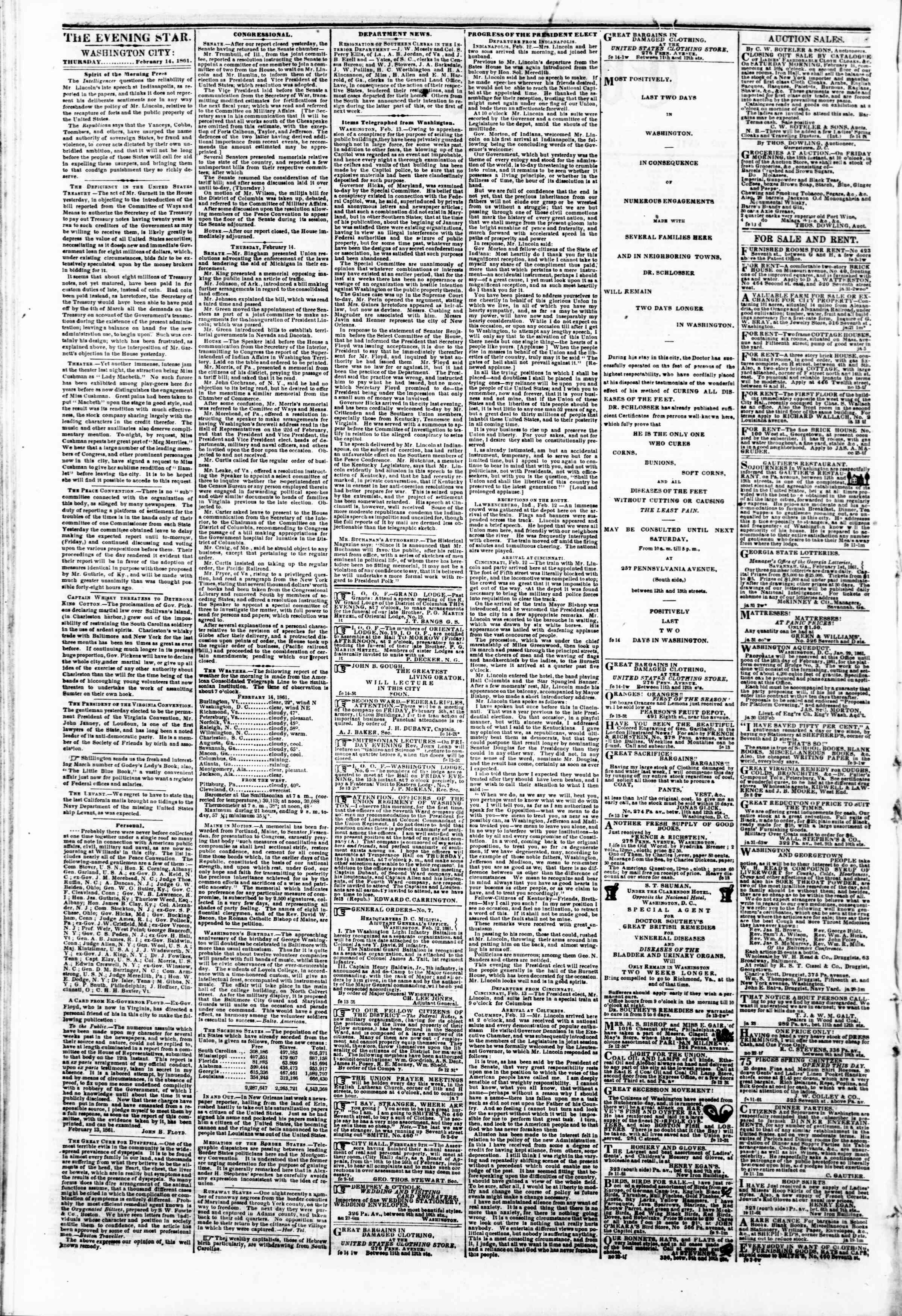 Newspaper of Evening Star dated February 14, 1861 Page 2