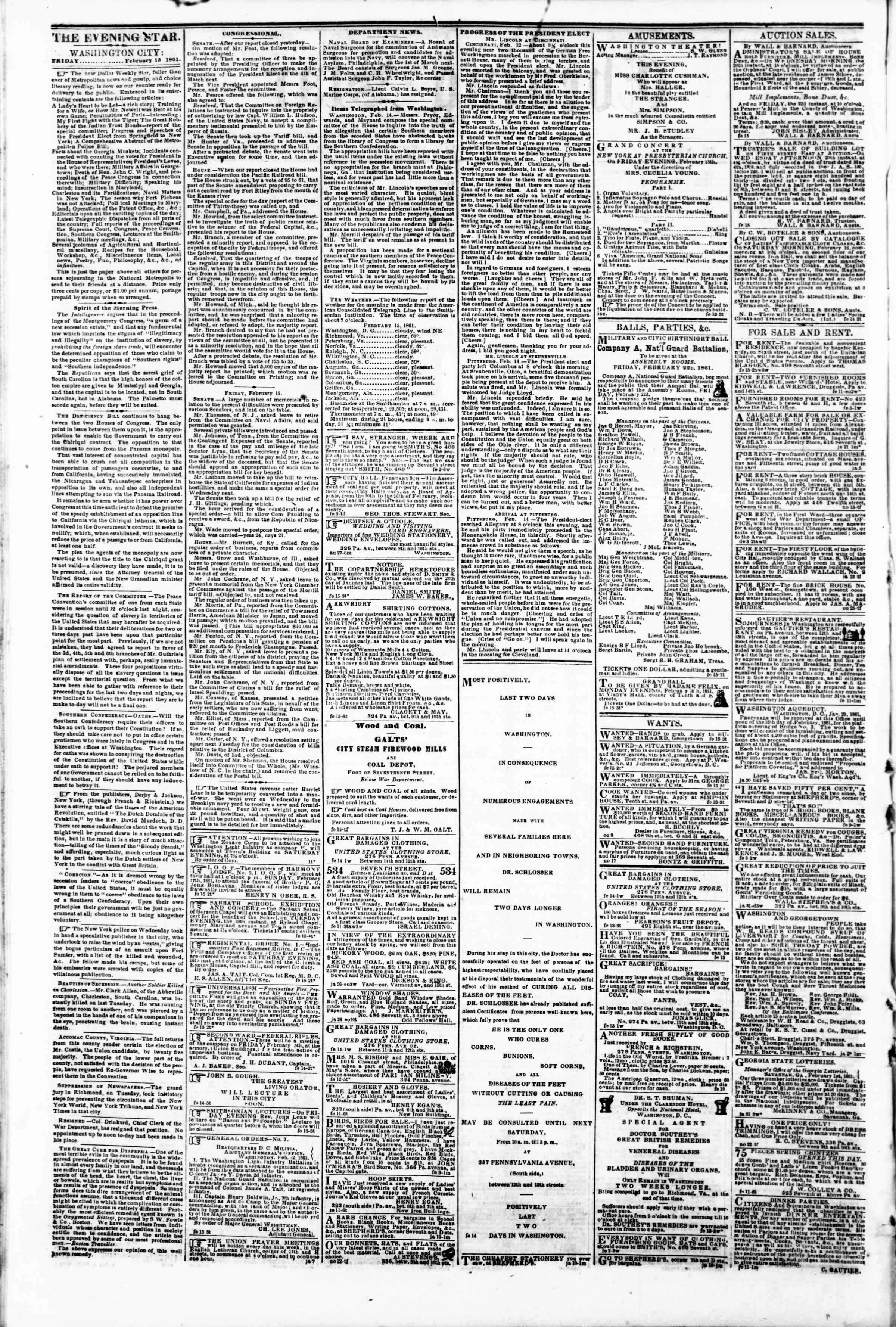 Newspaper of Evening Star dated February 15, 1861 Page 2