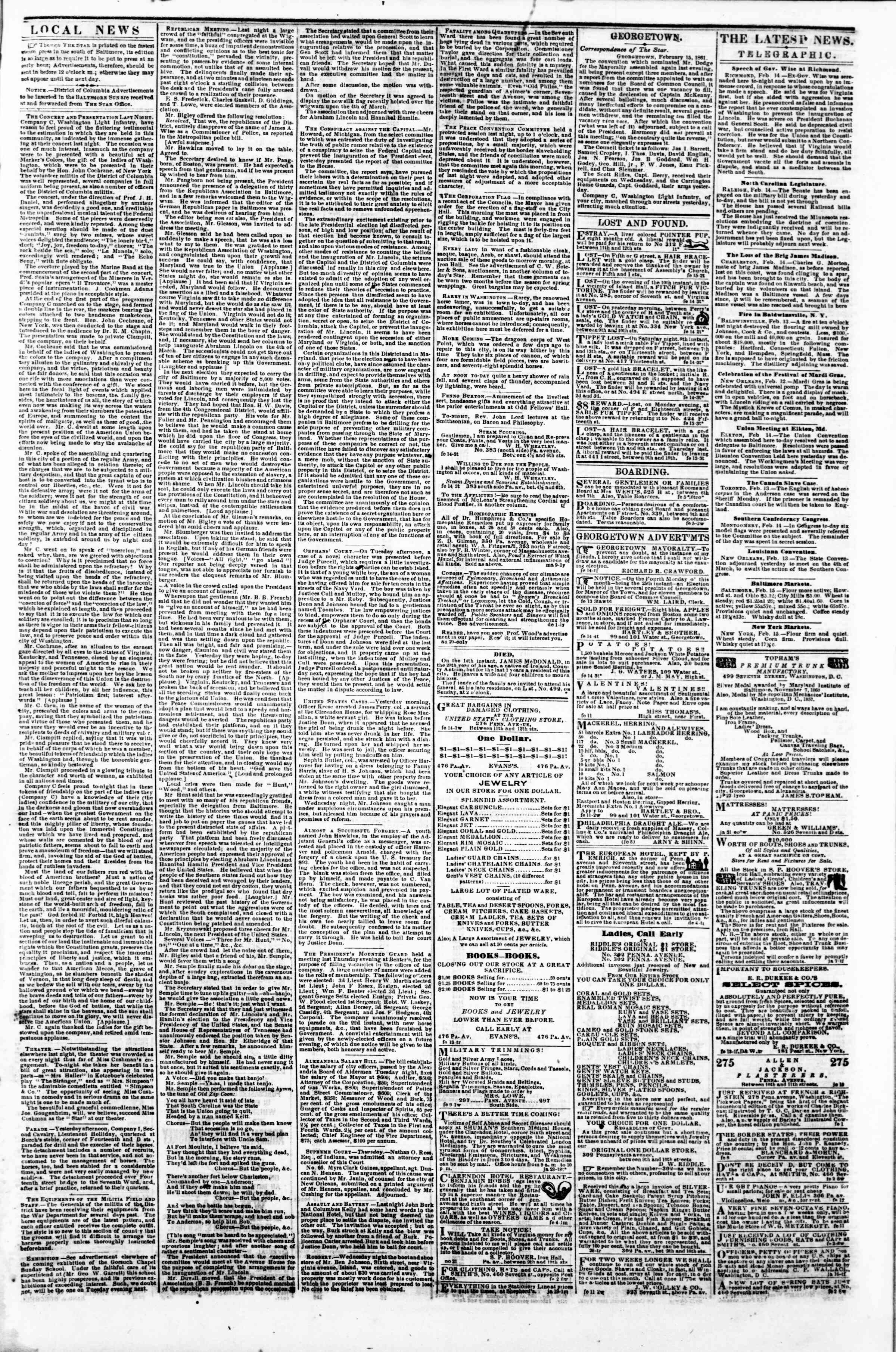 Newspaper of Evening Star dated 15 Şubat 1861 Page 3
