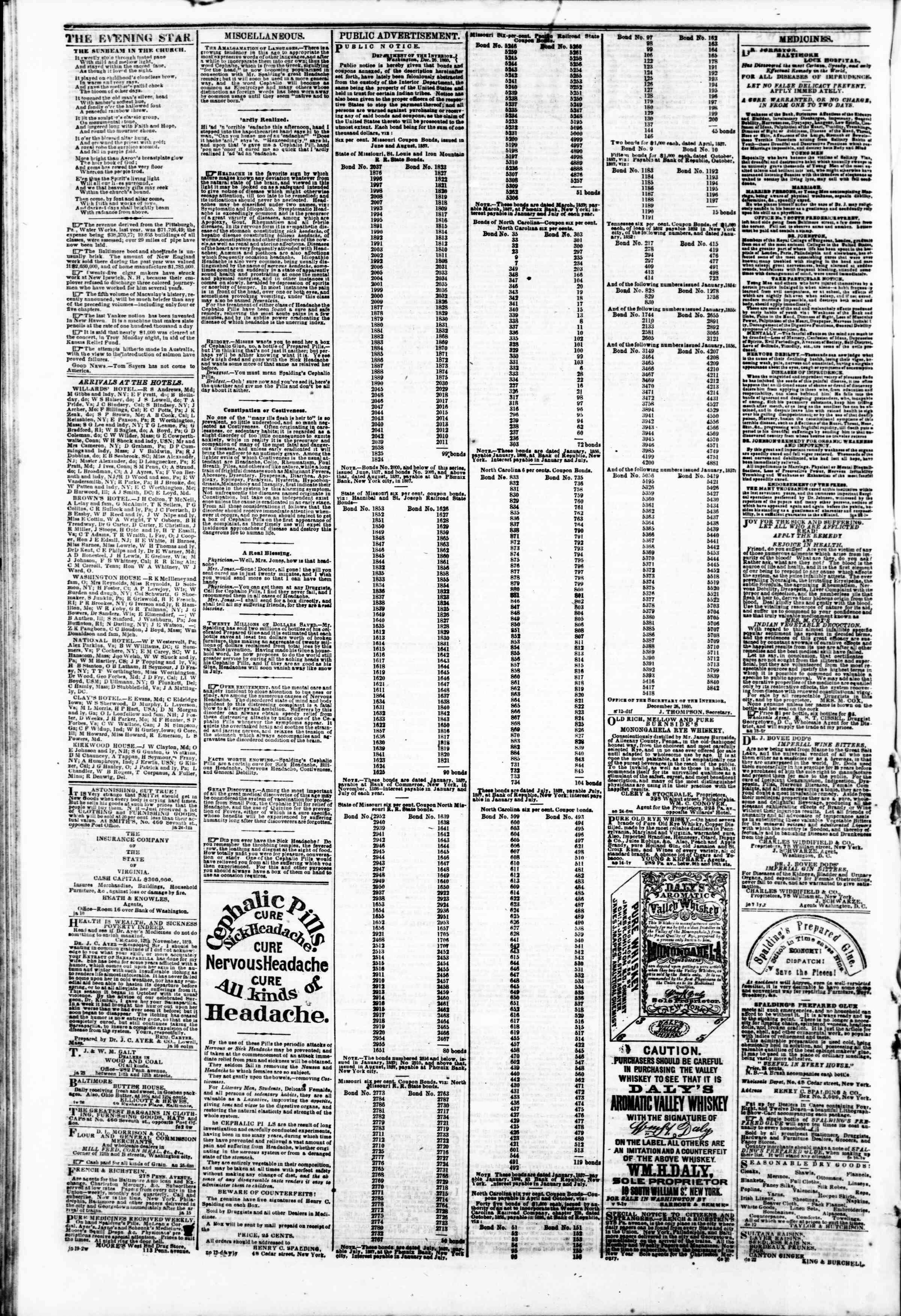 15 Şubat 1861 tarihli Evening Star Gazetesi Sayfa 4