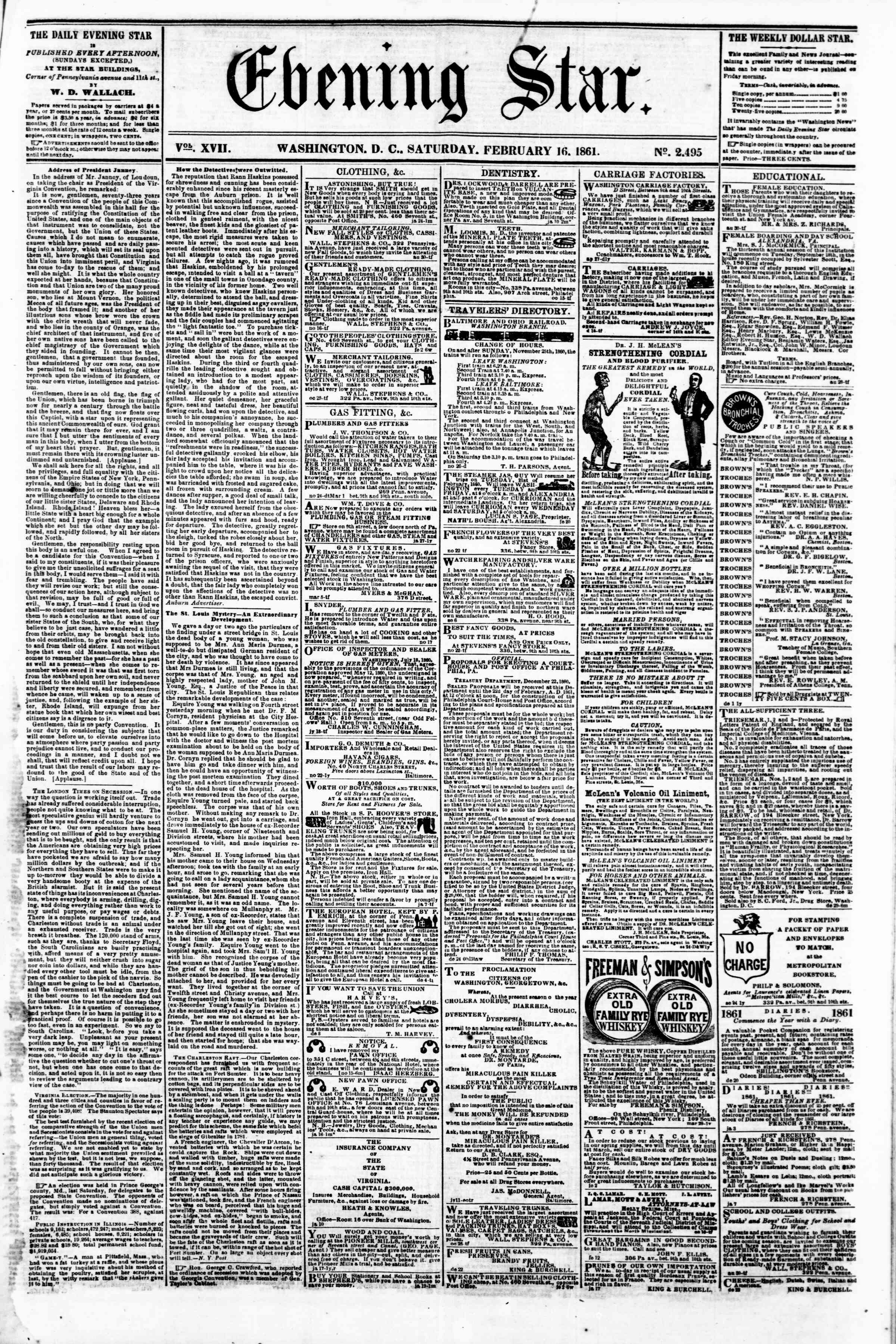 Newspaper of Evening Star dated February 16, 1861 Page 1