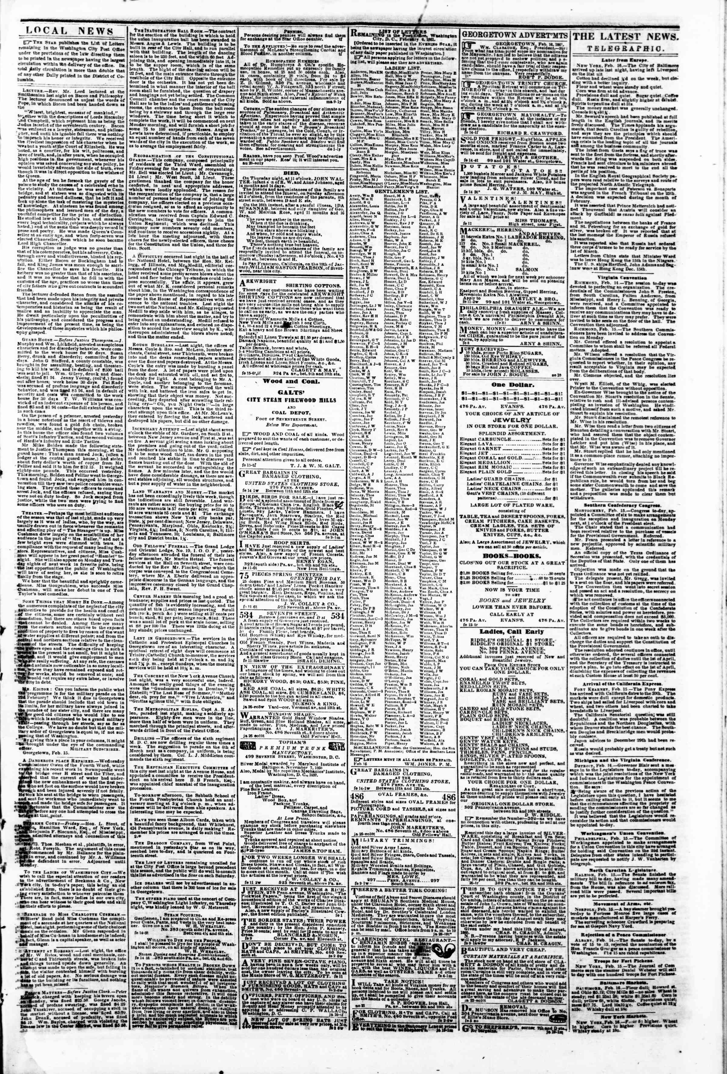 Newspaper of Evening Star dated February 16, 1861 Page 3