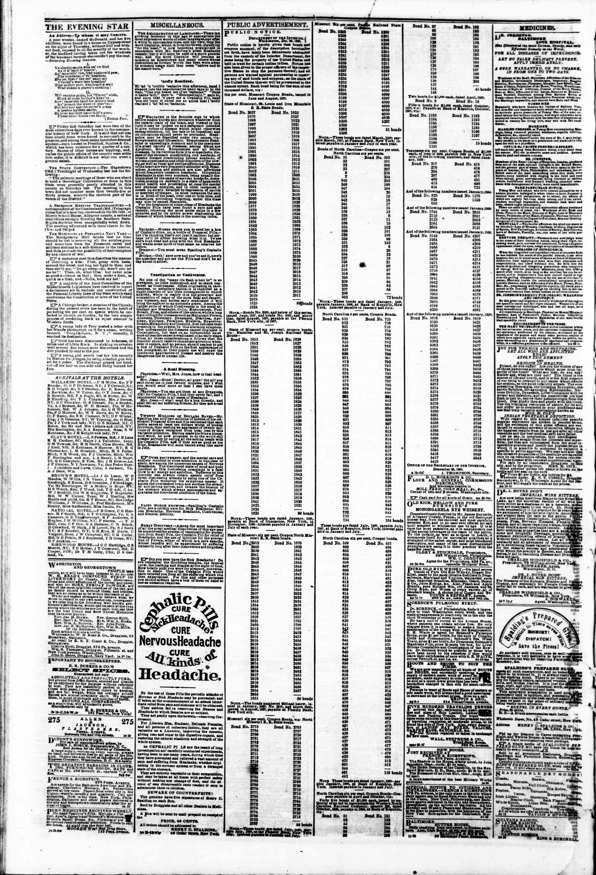 Newspaper of Evening Star dated February 16, 1861 Page 4