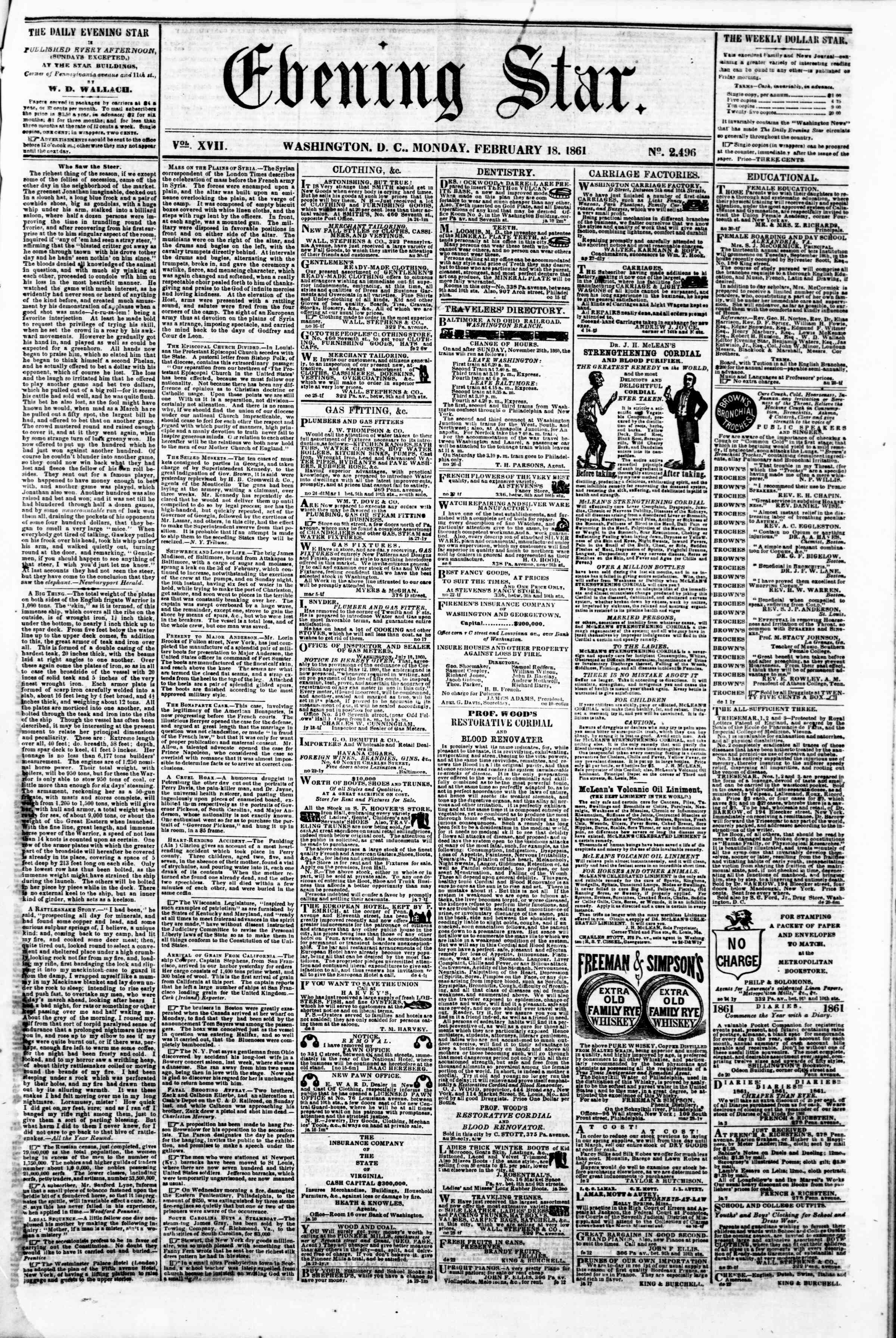 Newspaper of Evening Star dated February 18, 1861 Page 1