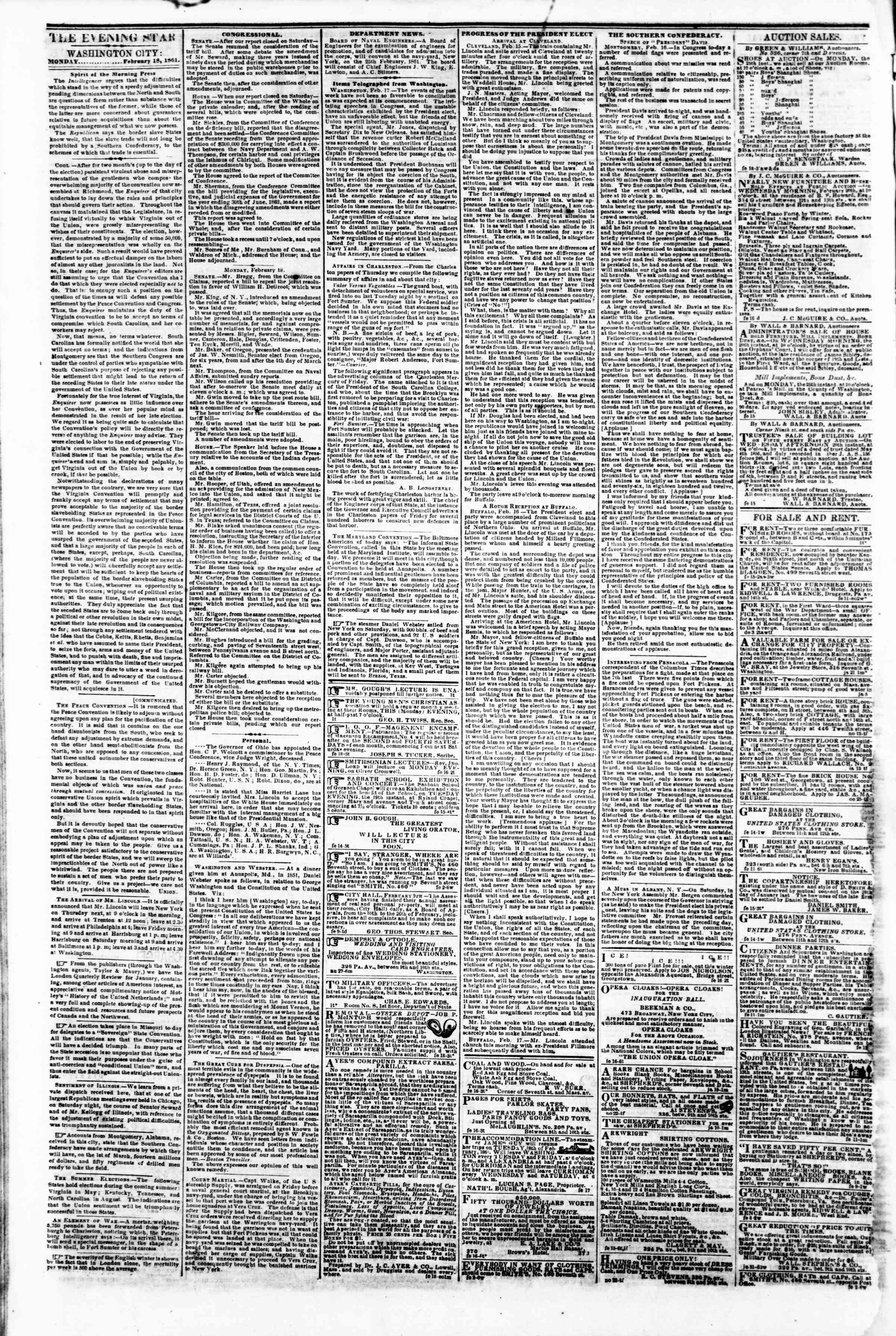 Newspaper of Evening Star dated February 18, 1861 Page 2