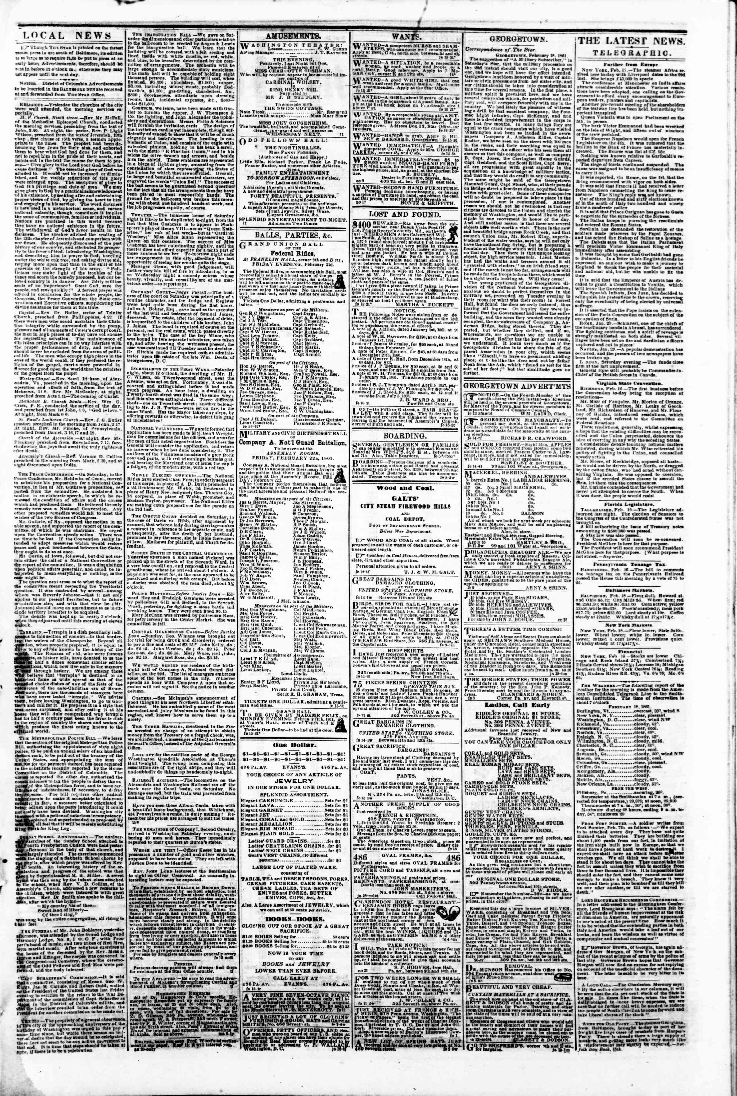 Newspaper of Evening Star dated 18 Şubat 1861 Page 3