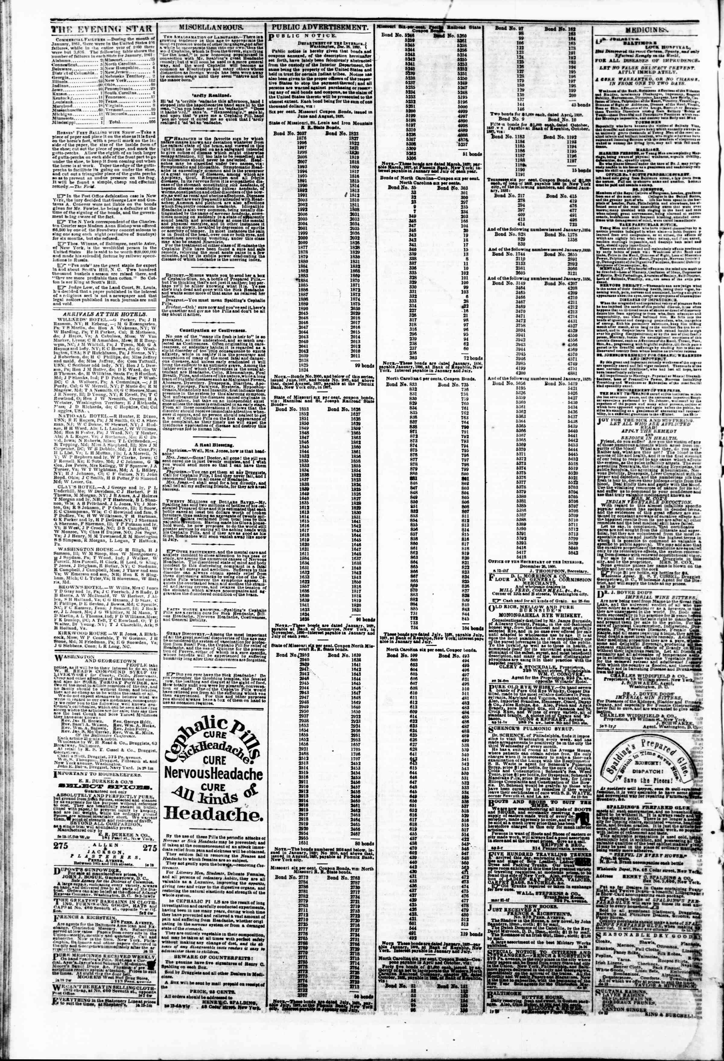 Newspaper of Evening Star dated February 18, 1861 Page 4