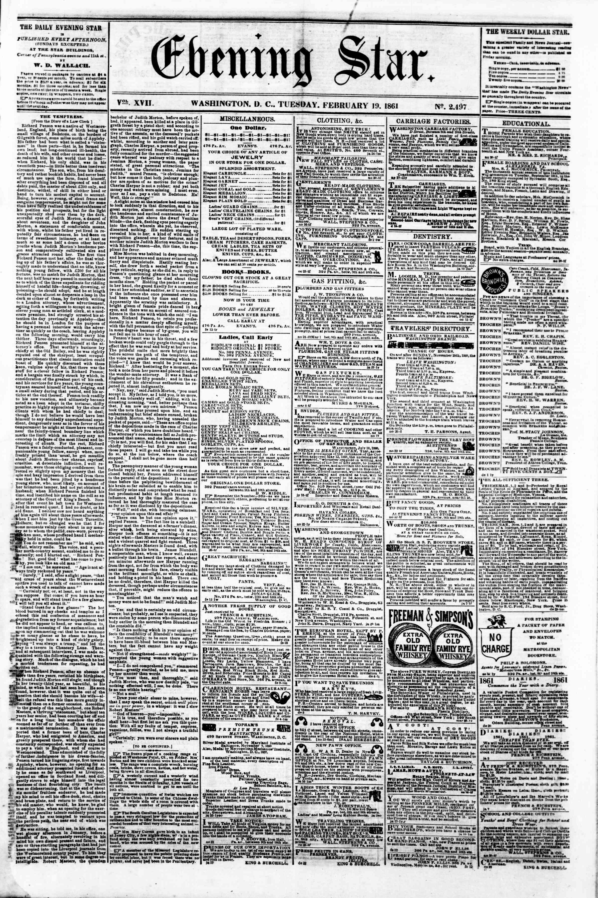 Newspaper of Evening Star dated February 19, 1861 Page 1