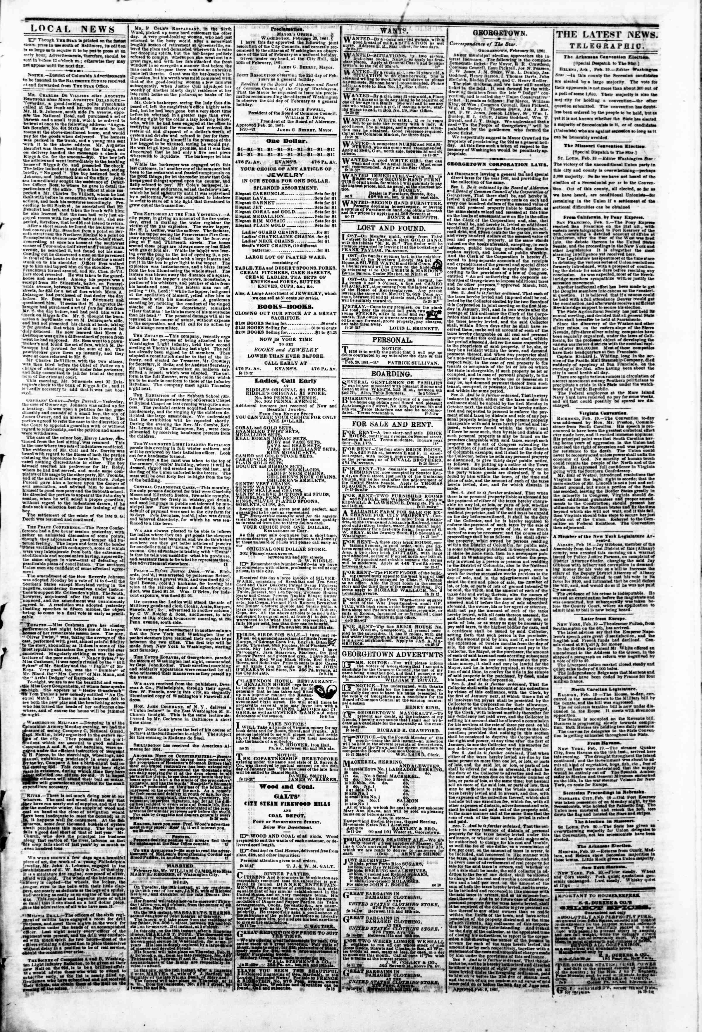 Newspaper of Evening Star dated February 20, 1861 Page 3