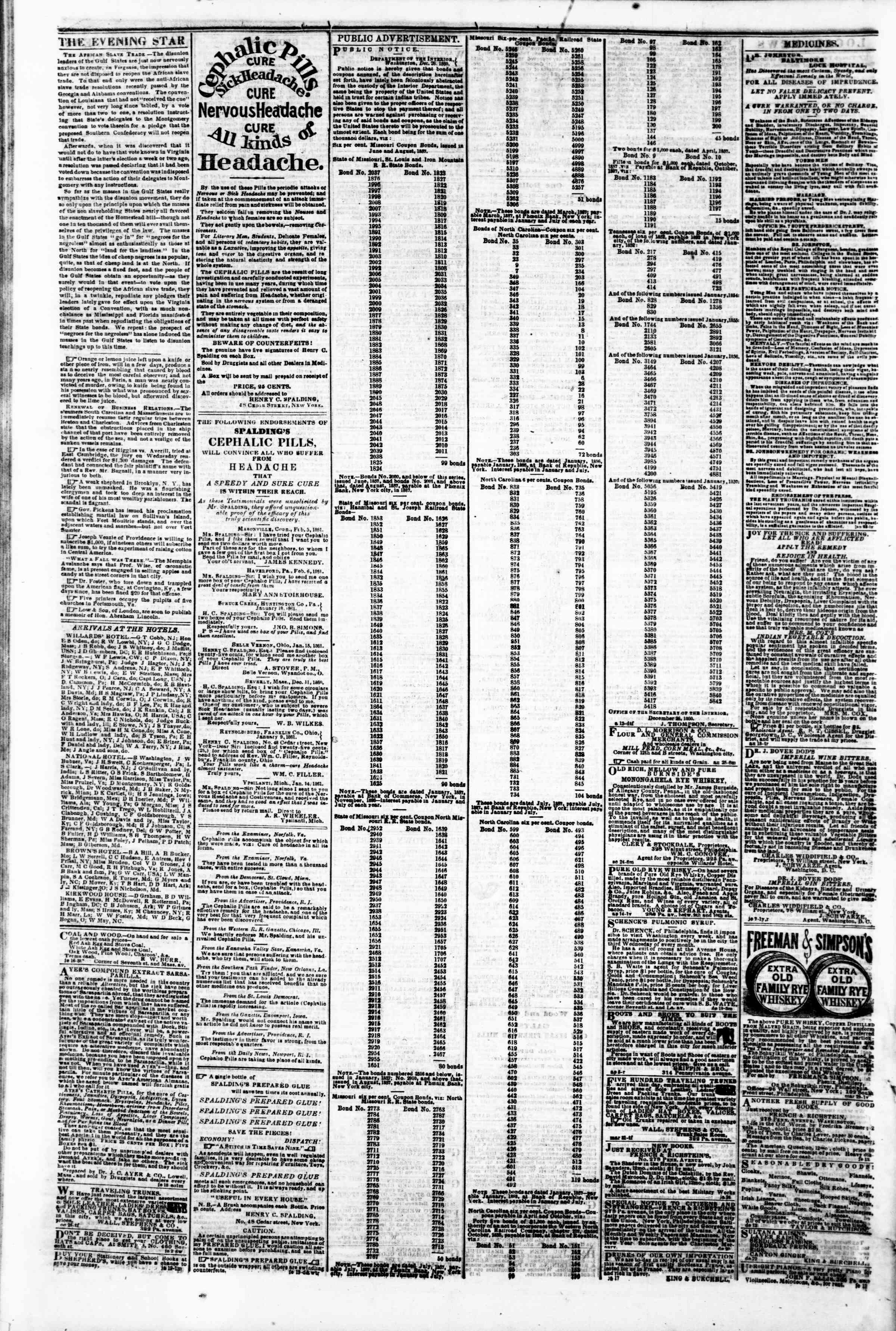 Newspaper of Evening Star dated February 20, 1861 Page 4
