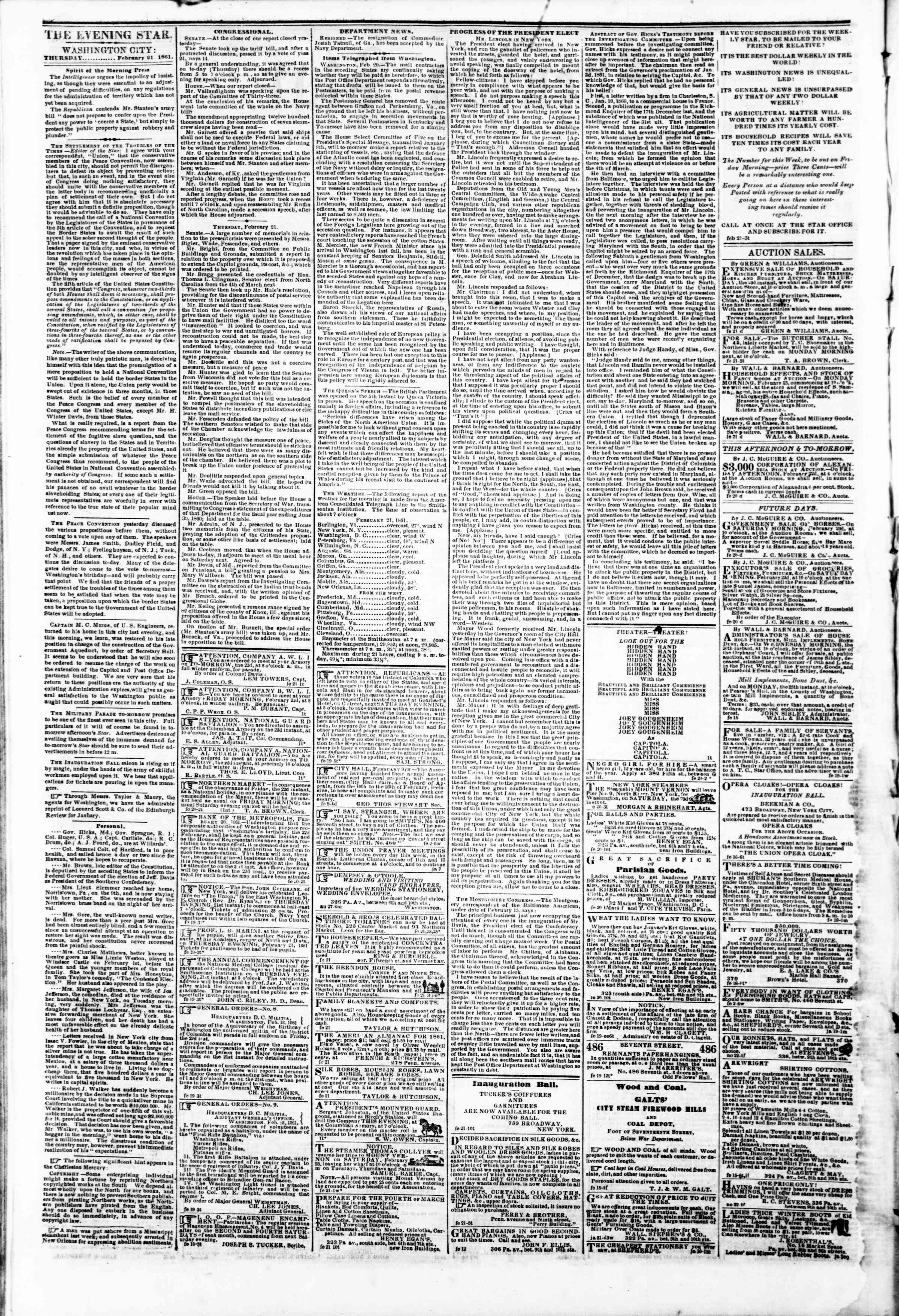 Newspaper of Evening Star dated February 21, 1861 Page 2
