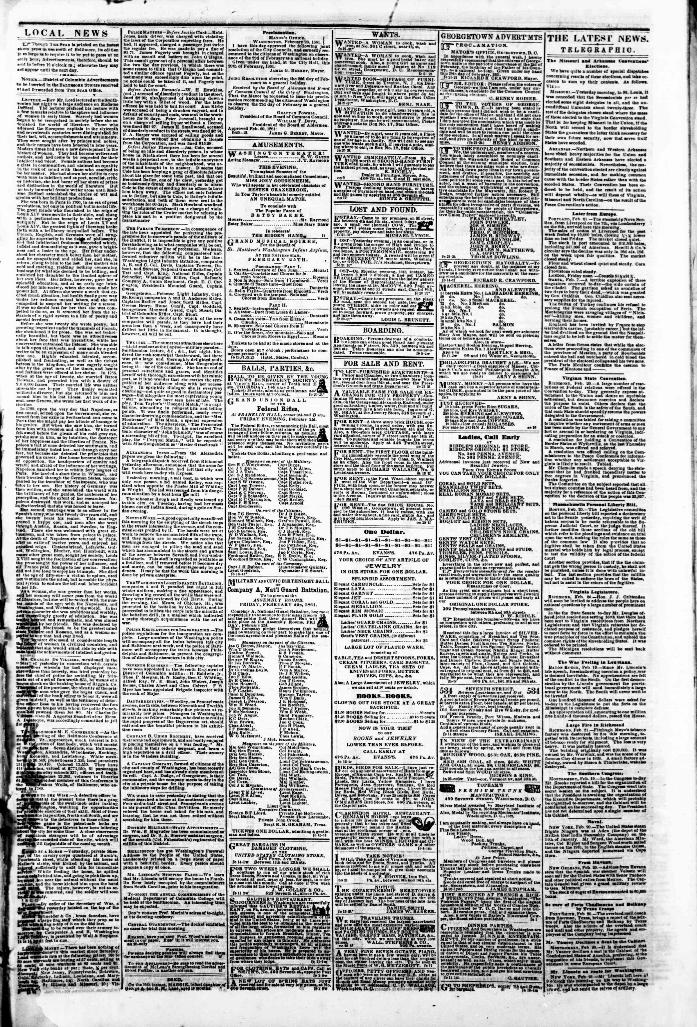 Newspaper of Evening Star dated February 21, 1861 Page 3