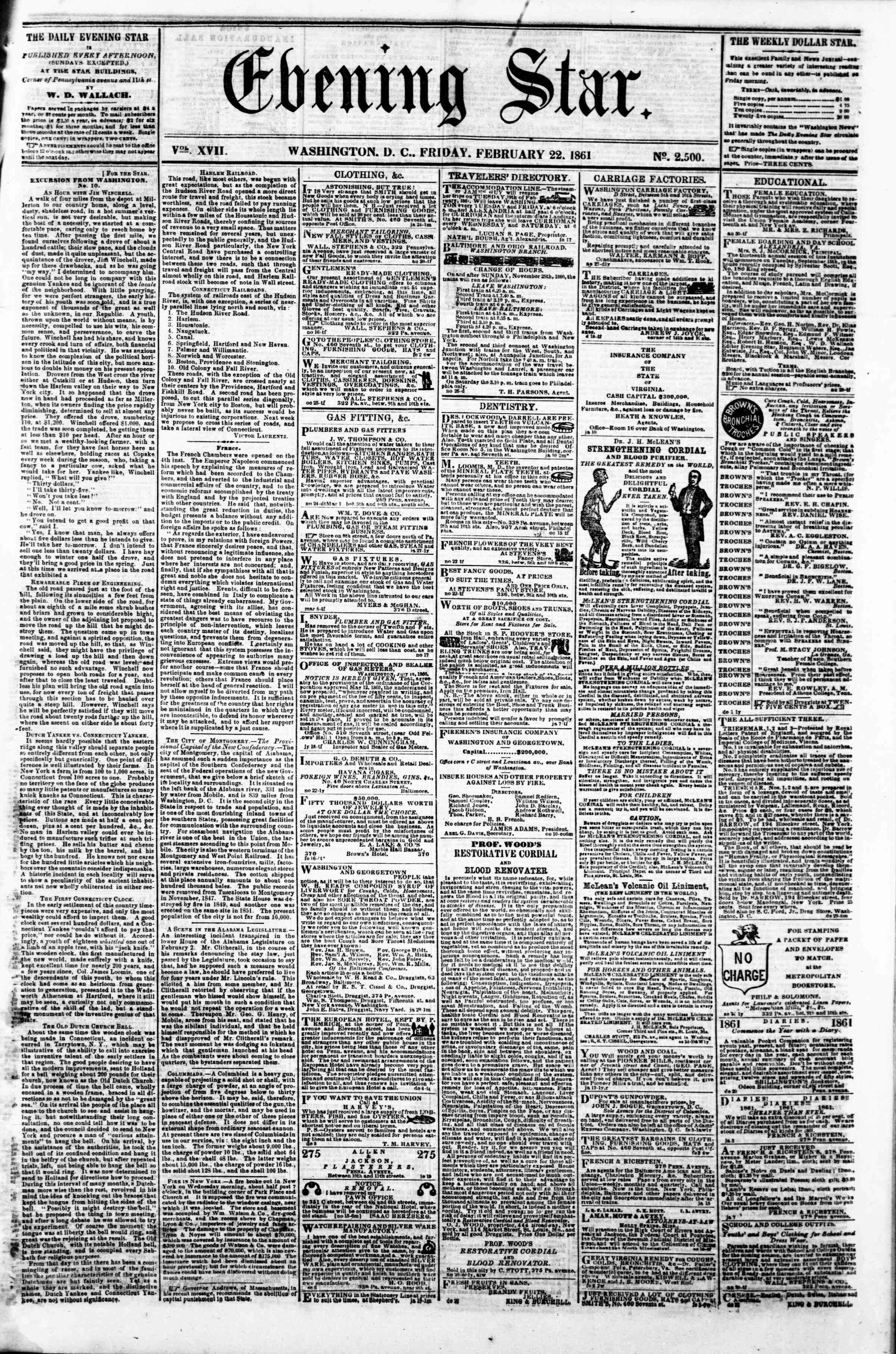 Newspaper of Evening Star dated February 22, 1861 Page 1